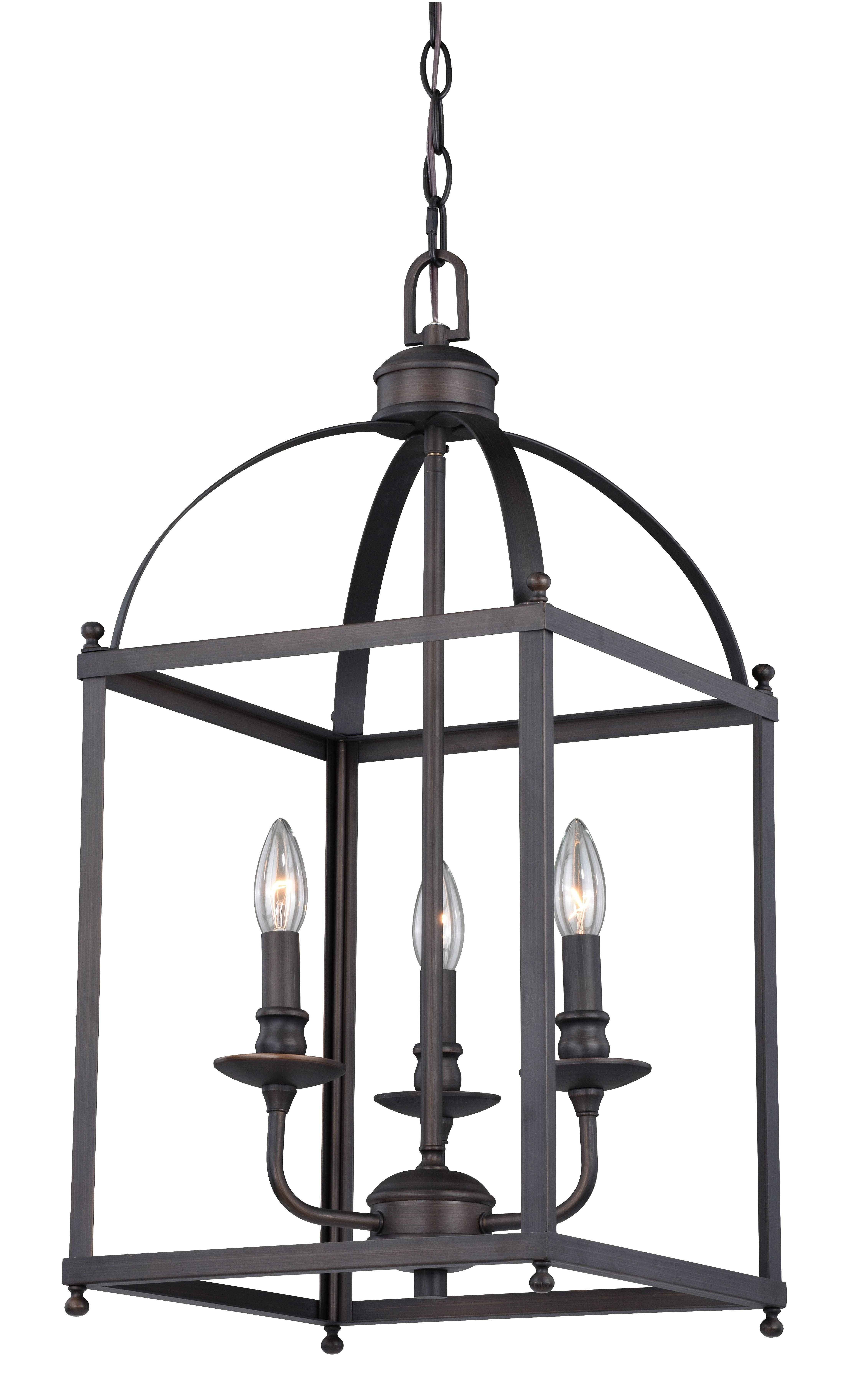 Fashionable Cleona Modern 3 Light Foyer Pendant Regarding Leiters 3 Light Lantern Geometric Pendants (View 15 of 25)