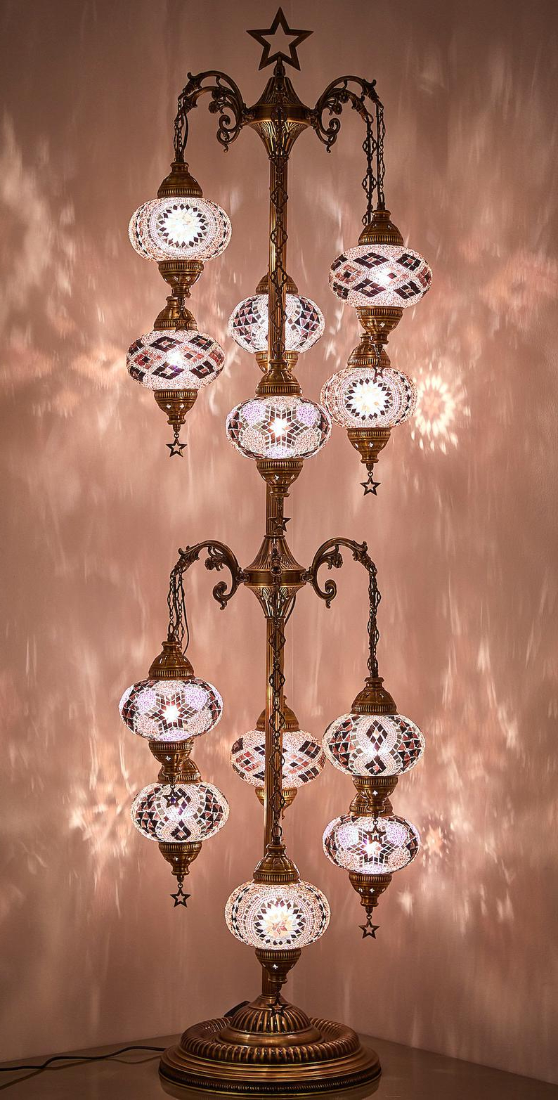 "Fashionable Demmex 12 Big Globes Mosaic Turkish Moroccan Christmas Tree Bohemian  Tiffany Floor Lamp Light, Us Plug & Socket, 68"" Pertaining To Donna 4 Light Globe Chandeliers (View 24 of 25)"