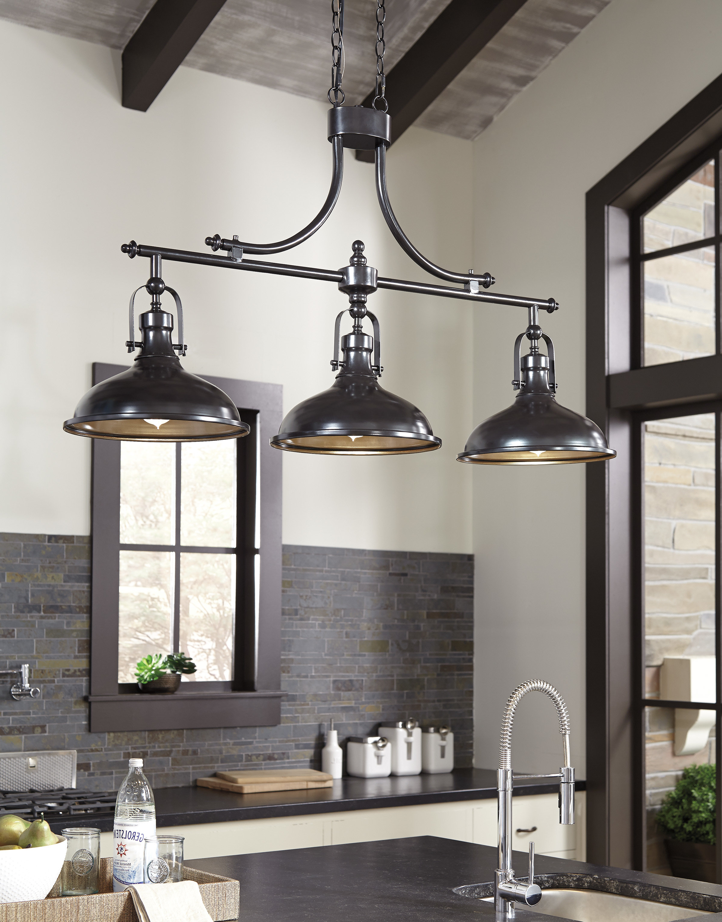 Fashionable Euclid 2 Light Kitchen Island Linear Pendants Pertaining To Martinique 3 Light Kitchen Island Dome Pendant (View 17 of 25)