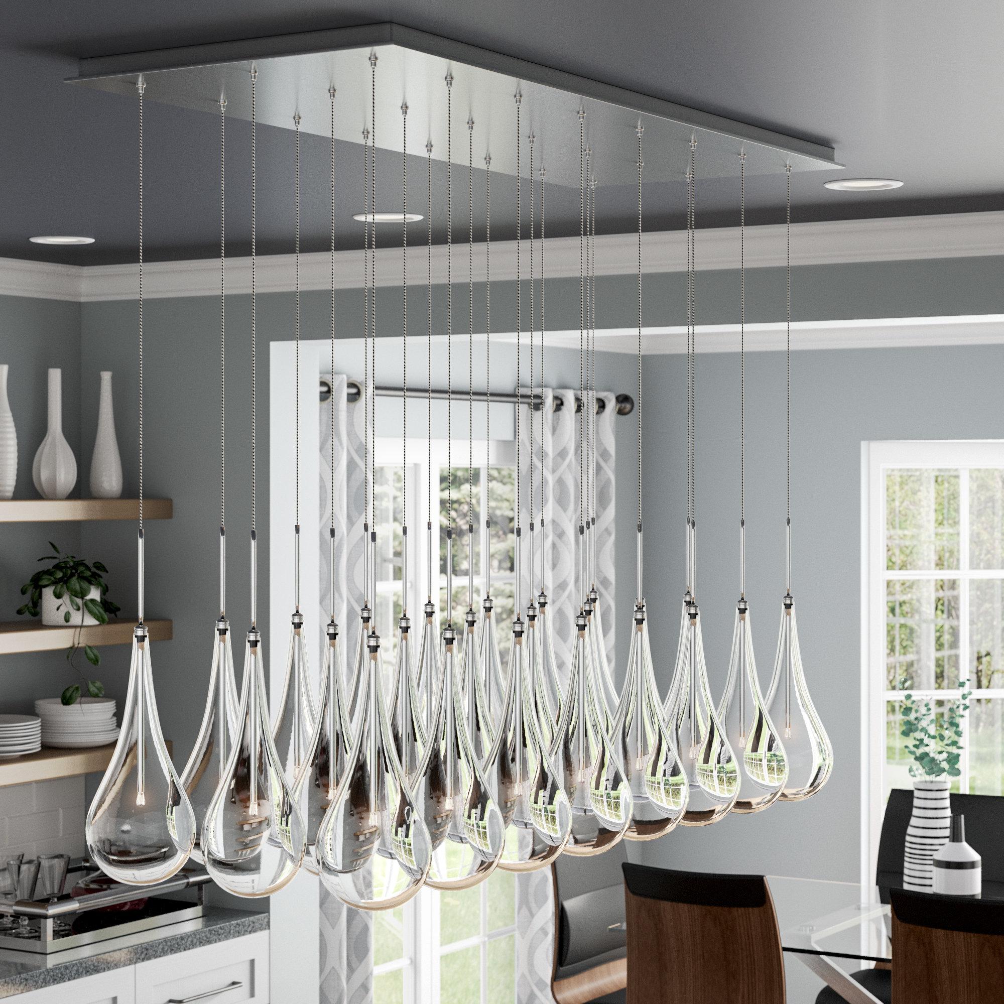 Fashionable Neal 5 Light Kitchen Island Teardrop Pendants With Regard To Neal Led Kitchen Island Pendant (View 5 of 25)