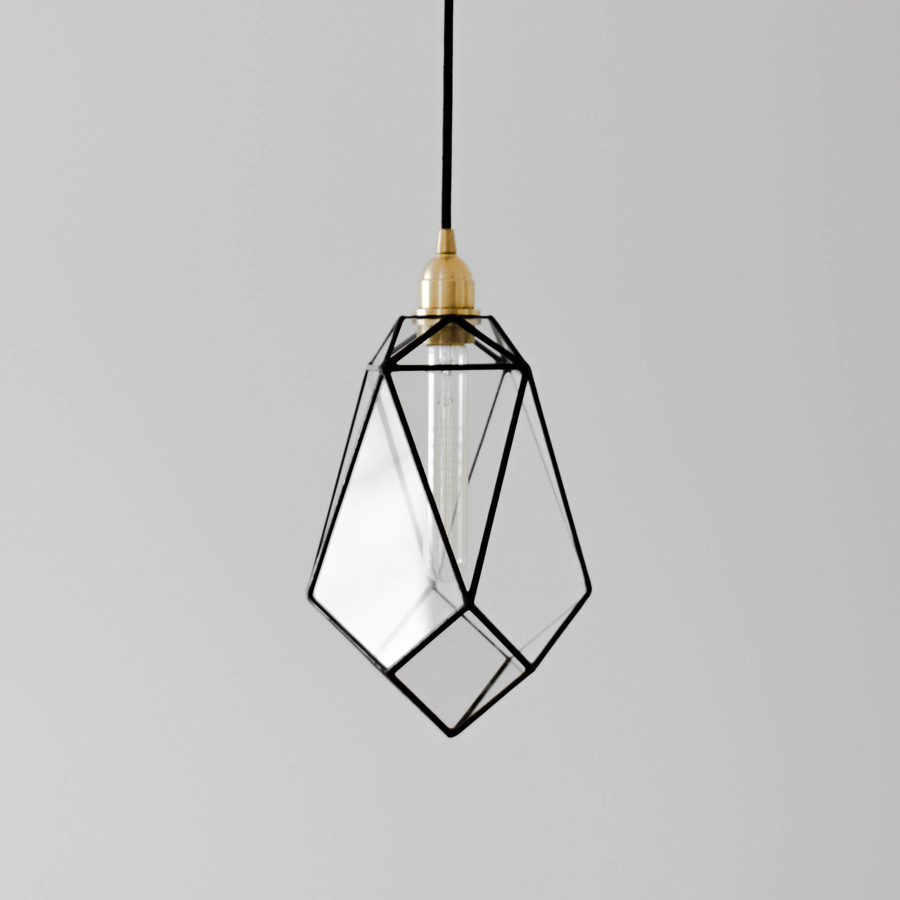 Fashionable Rossi Industrial Vintage 1 Light Geometric Pendants With Regard To Crystal Glass Chandelier / Geometric Pendant Light / Warm Edison Bulb Lamp (View 4 of 25)