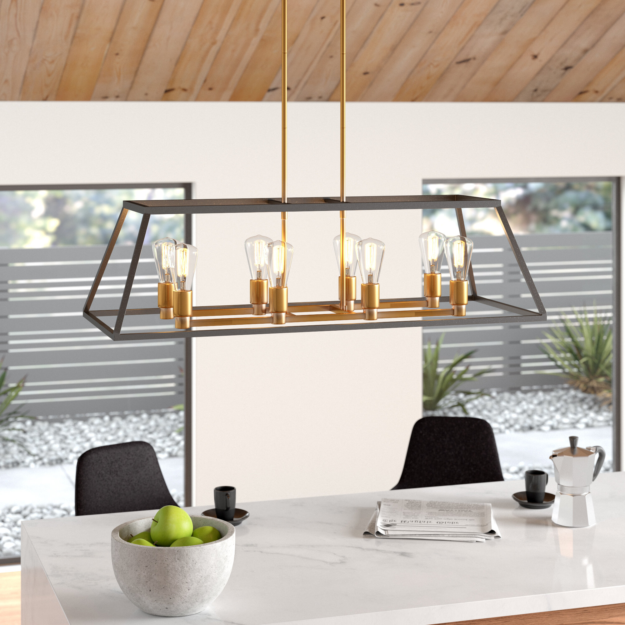 Fashionable Shisler 8 Light Kitchen Island Linear Pendant In Odie 8 Light Kitchen Island Square / Rectangle Pendants (View 5 of 25)