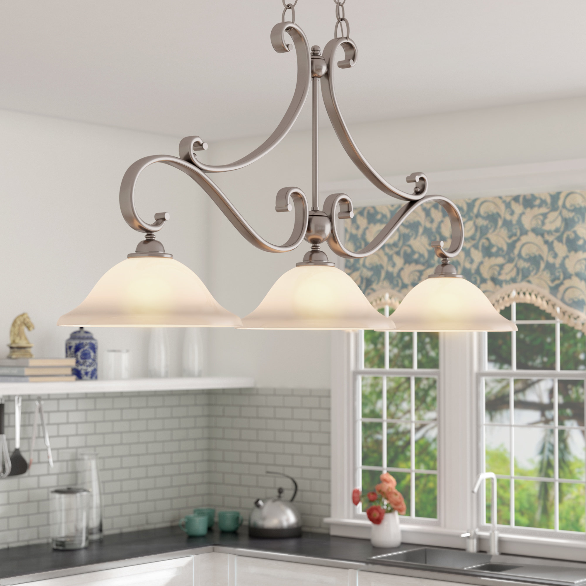 Fashionable Van Horne 3 Light Kitchen Island Linear Pendant With Regard To Van Horne 3 Light Single Teardrop Pendants (View 4 of 25)