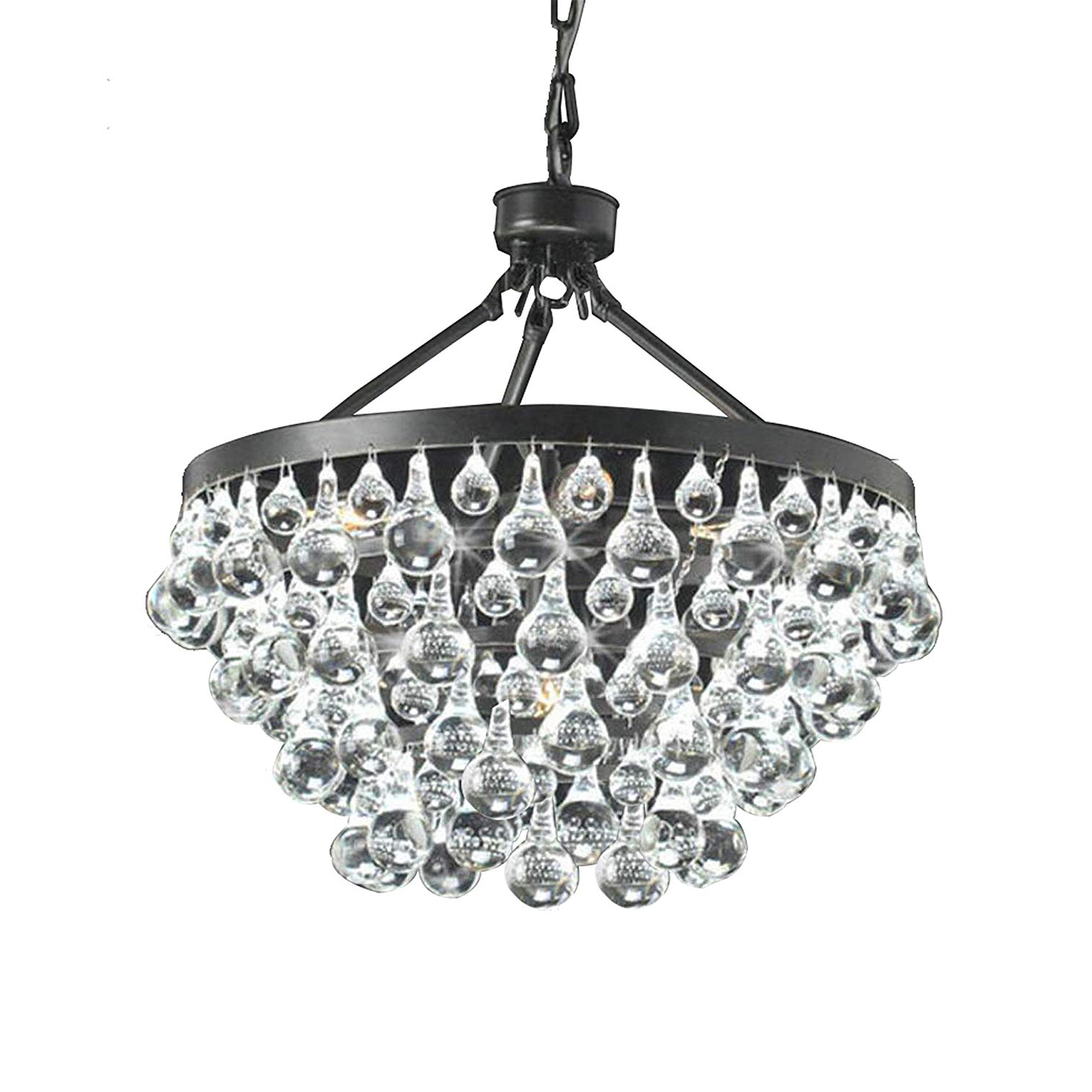 Fashionable Verdell 5 Light Crystal Chandeliers With Regard To Antique Black 5 Light Crystal Drop Chandelier (View 13 of 25)