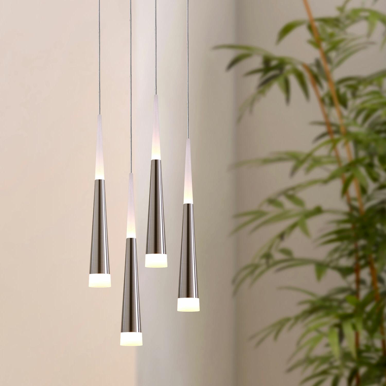 Fashionable Wadley 4 Light Led Cluster Pendant Regarding Schutt 5 Light Cluster Pendants (View 9 of 25)