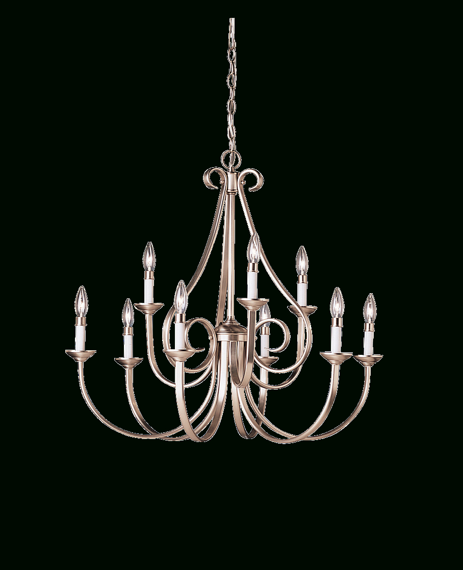 Favorite 9 Light, 2 Tiered Chandelier In Brushed Nickel – Dover Regarding Watford 9 Light Candle Style Chandeliers (View 23 of 25)
