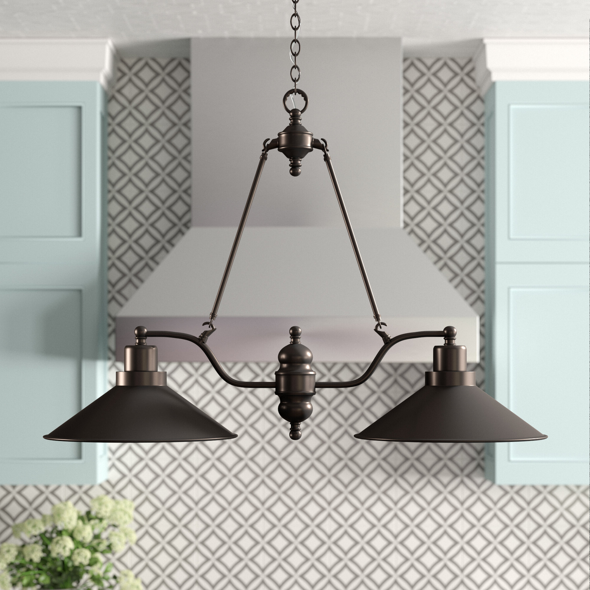 Favorite Alayna 4 Light Shaded Chandeliers Throughout Euclid 2 Light Kitchen Island Linear Pendant (View 23 of 25)