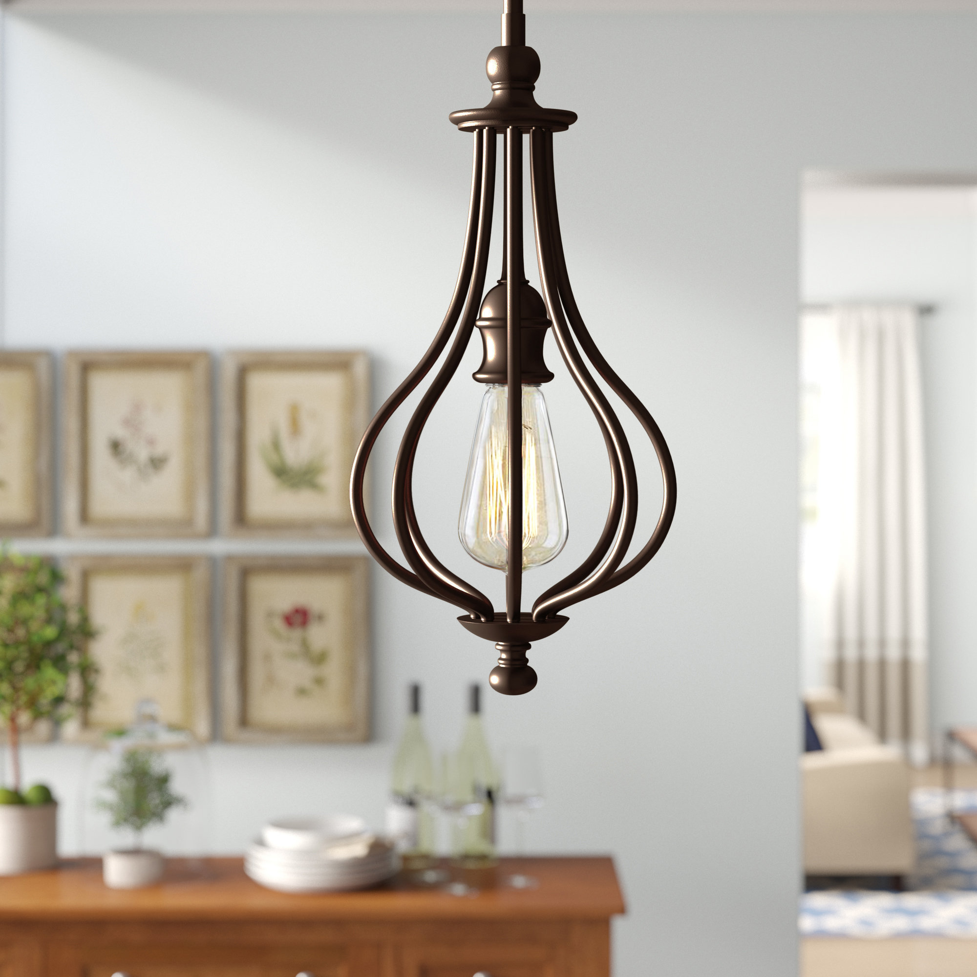 Favorite Birch Lane 1 Light Single Teardrop Pendant & Reviews With Van Horne 3 Light Single Teardrop Pendants (View 6 of 25)
