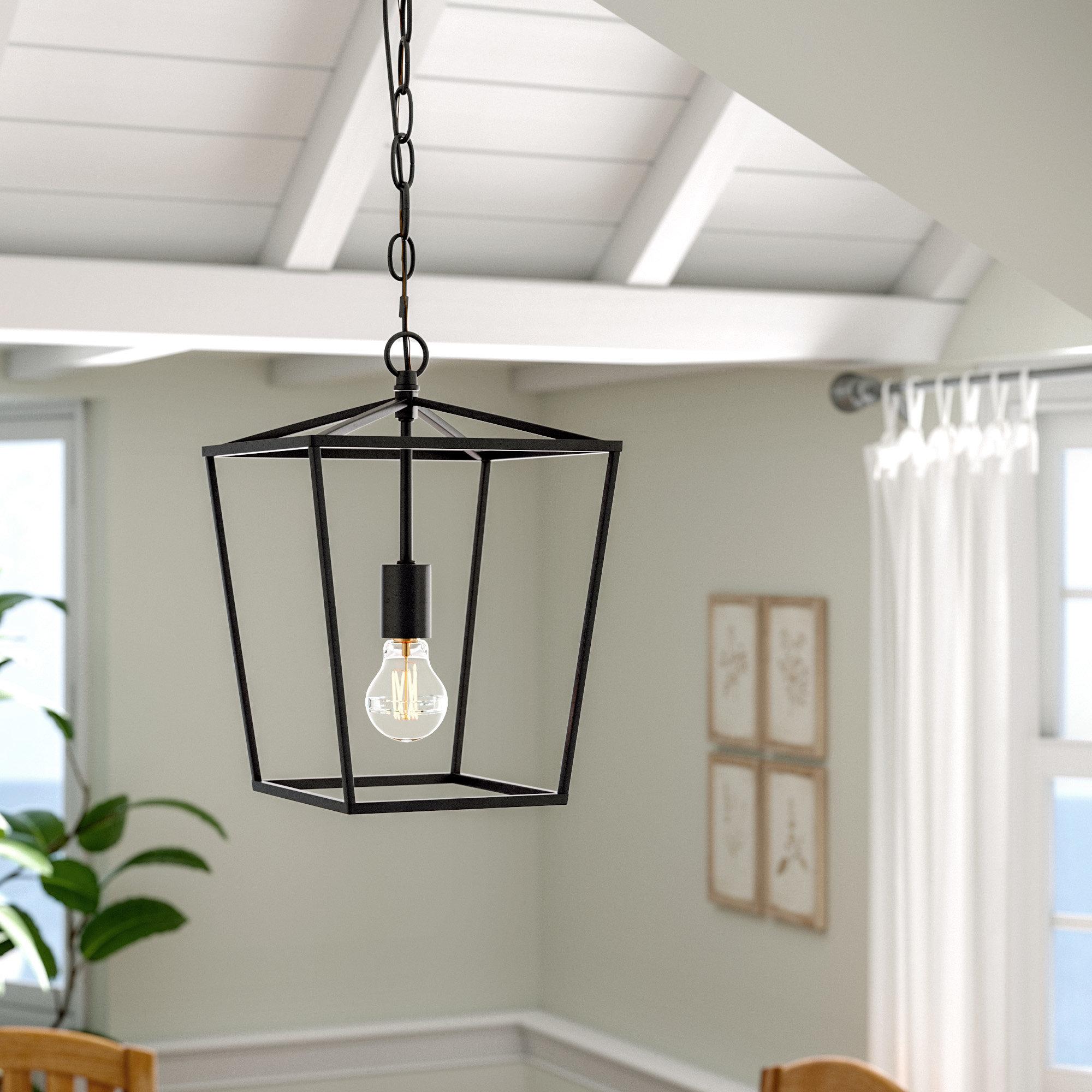 Favorite Finnick 3 Light Lantern Pendants In Andover Mills Finnick 1 Light Geometric Pendant & Reviews (View 5 of 25)