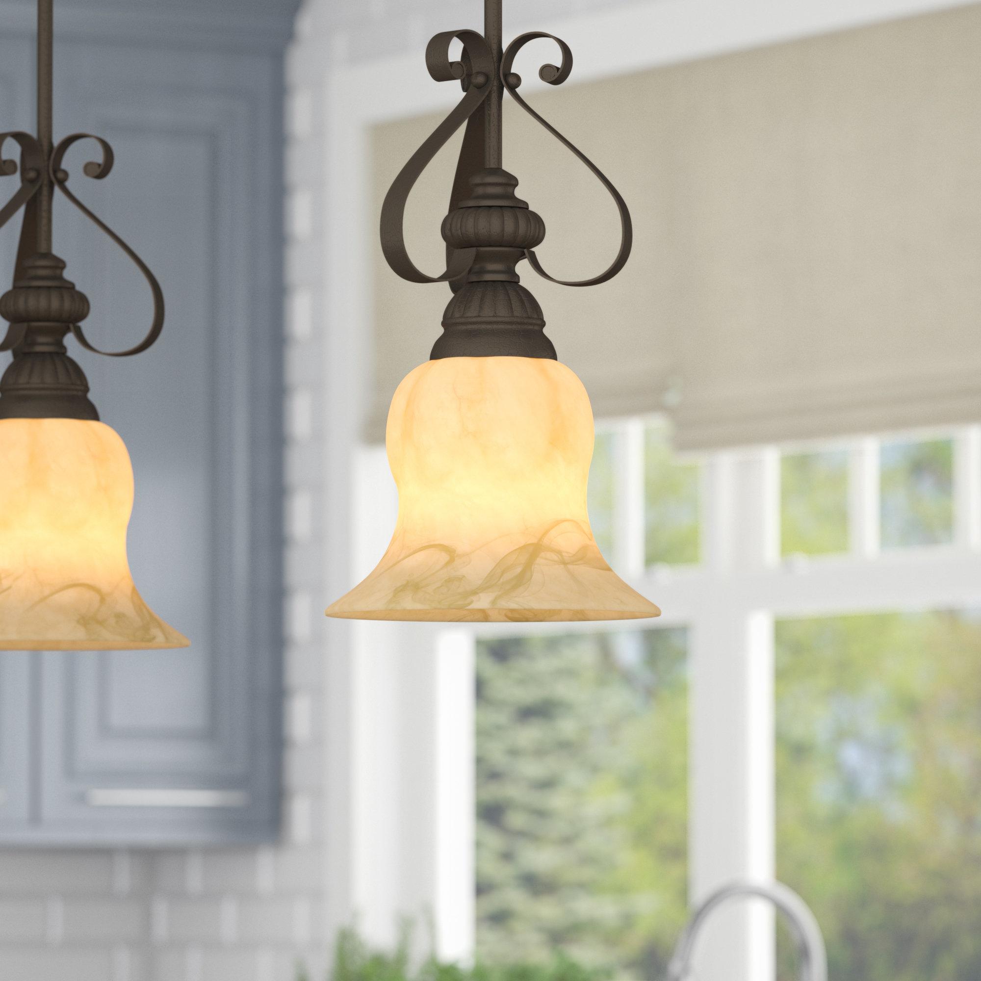 Featured Photo of Grullon Scroll 1 Light Single Bell Pendants