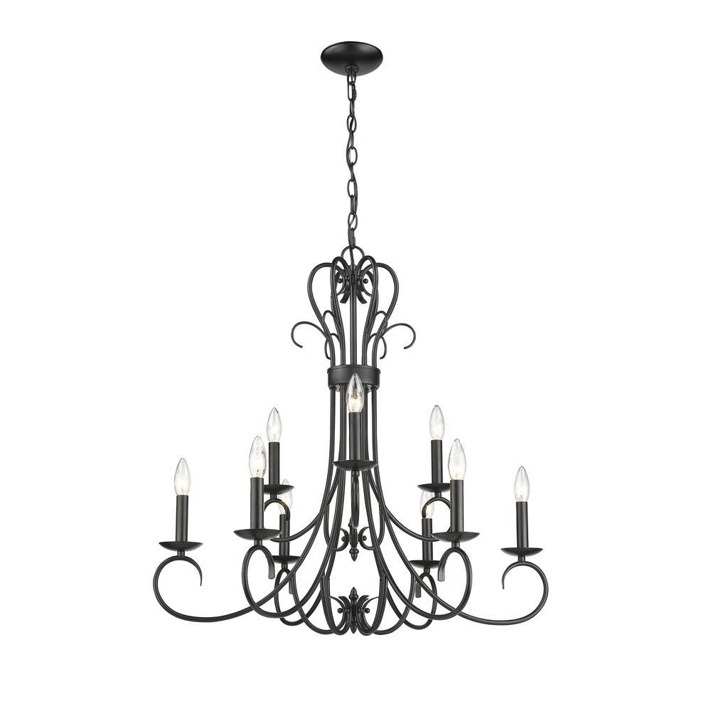 Favorite Hermione 5 Light Drum Chandeliers For Golden Lighting Homestead 9 Light Black 2 Tier Chandelier (View 25 of 25)