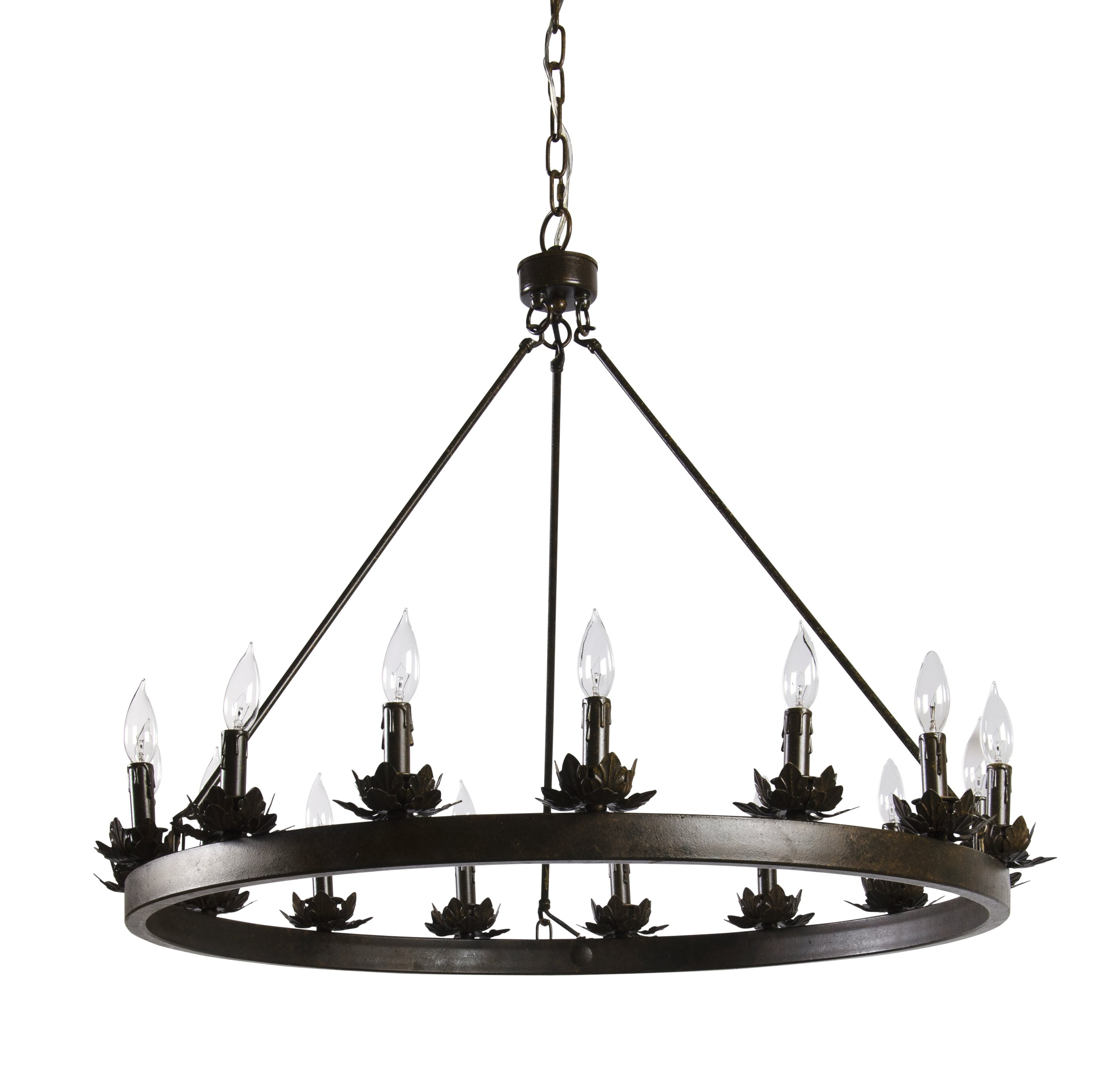 Favorite Mcmahon 12 Light Wagon Wheel Chandelier Pertaining To Shayla 12 Light Wagon Wheel Chandeliers (View 5 of 25)