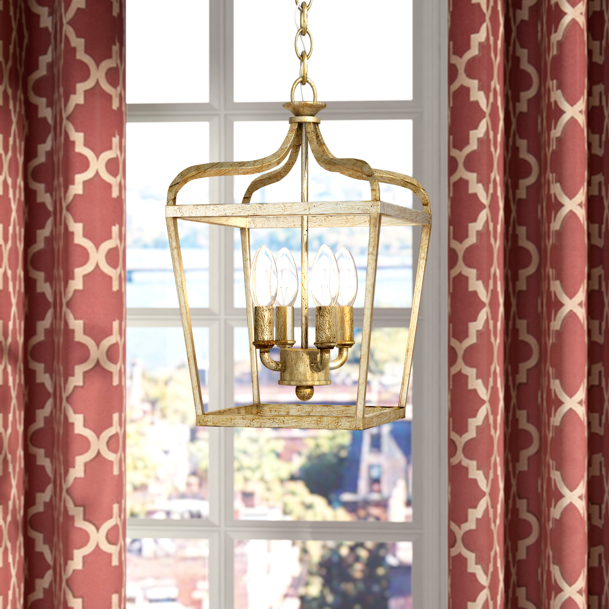 Favorite Seraphine 4 Light Lantern Geometric Pendant Regarding Tiana 4 Light Geometric Chandeliers (View 25 of 25)
