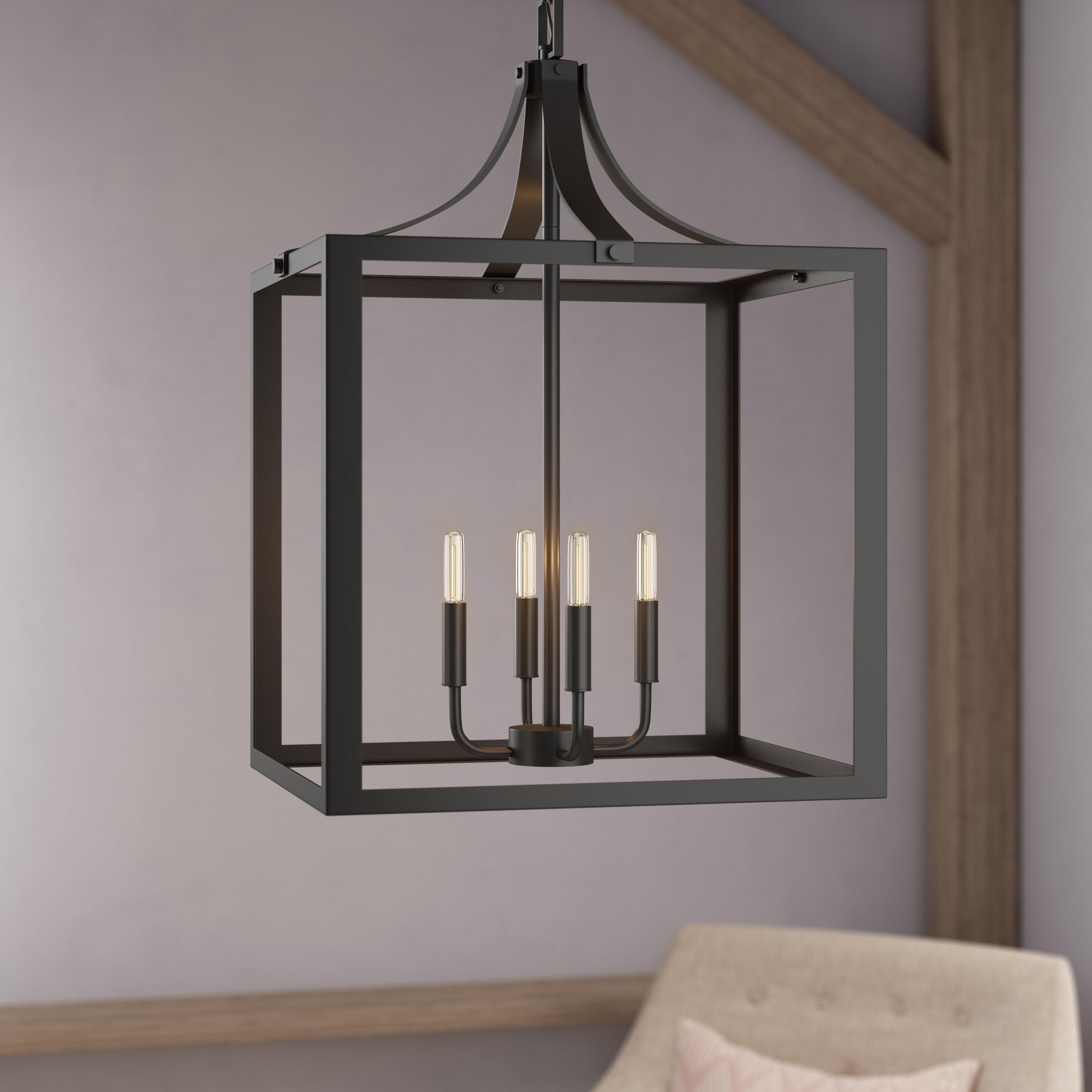 Favorite Sherri Ann 4 Light Lantern Square / Rectangle Pendant In Varnum 4 Light Lantern Pendants (View 5 of 25)