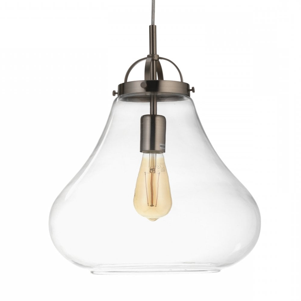 Favorite Terry 1 Light Single Bell Pendants With 1009/1 Ac Turua Single Light Ceiling Pendant In Antique Chrome Finish With  Clear Glass Shade (View 9 of 25)