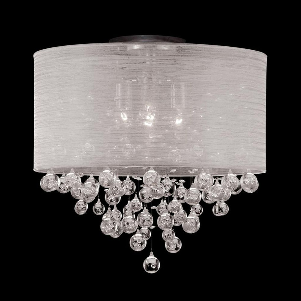 Favorite Von 4 Light Crystal Chandeliers Regarding Details About Modern Flush Mount Ceiling Nickel Light (View 8 of 25)