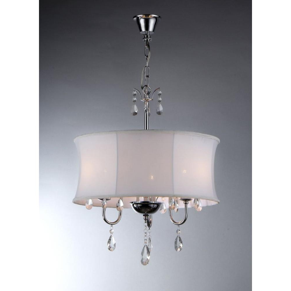 Favorite Warehouse Of Tiffany Melissa 3 Light Chrome Crystal Chandelier With Fabric Shade In Sherri 6 Light Chandeliers (View 8 of 25)