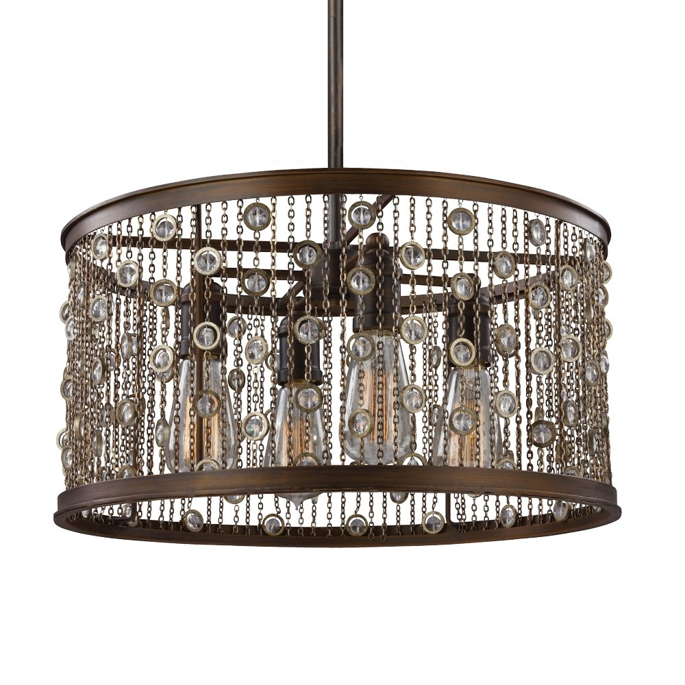 Feiss F3045/4Cstb, Colorado Springs Drum Pendant, 4 Light, 300 Total Watts,  Chestnut Bronze Inside Well Liked Dailey 4 Light Drum Chandeliers (View 8 of 25)