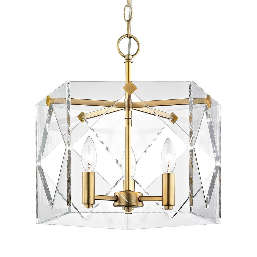 Fifth And Main Lighting Pentos 3 Light Aged Brass Acrylic Pendant Regarding Newest Ariel 3 Light Kitchen Island Dome Pendants (View 22 of 25)