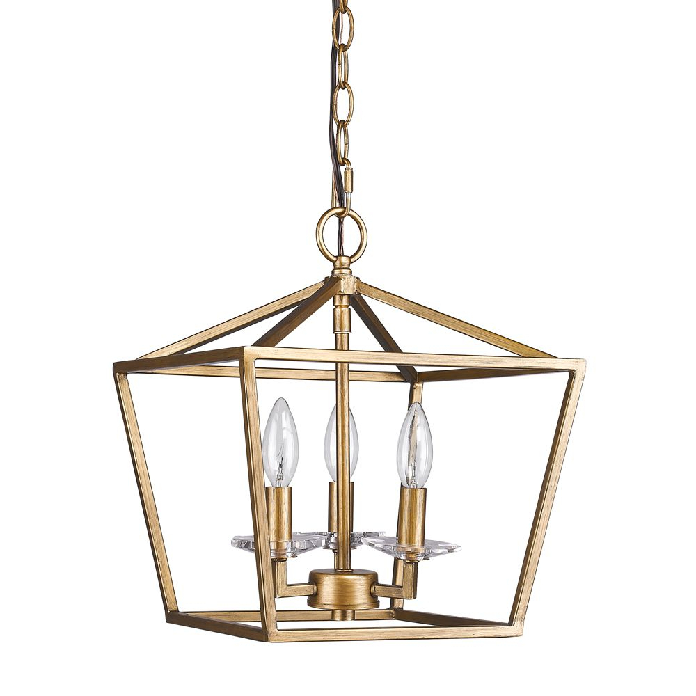 """Finnick 3 Light Lantern Pendants Throughout Most Current Kennedy Antique Gold Lantern Pendant Light 12""""wx14""""h In  (View 24 of 25)"""