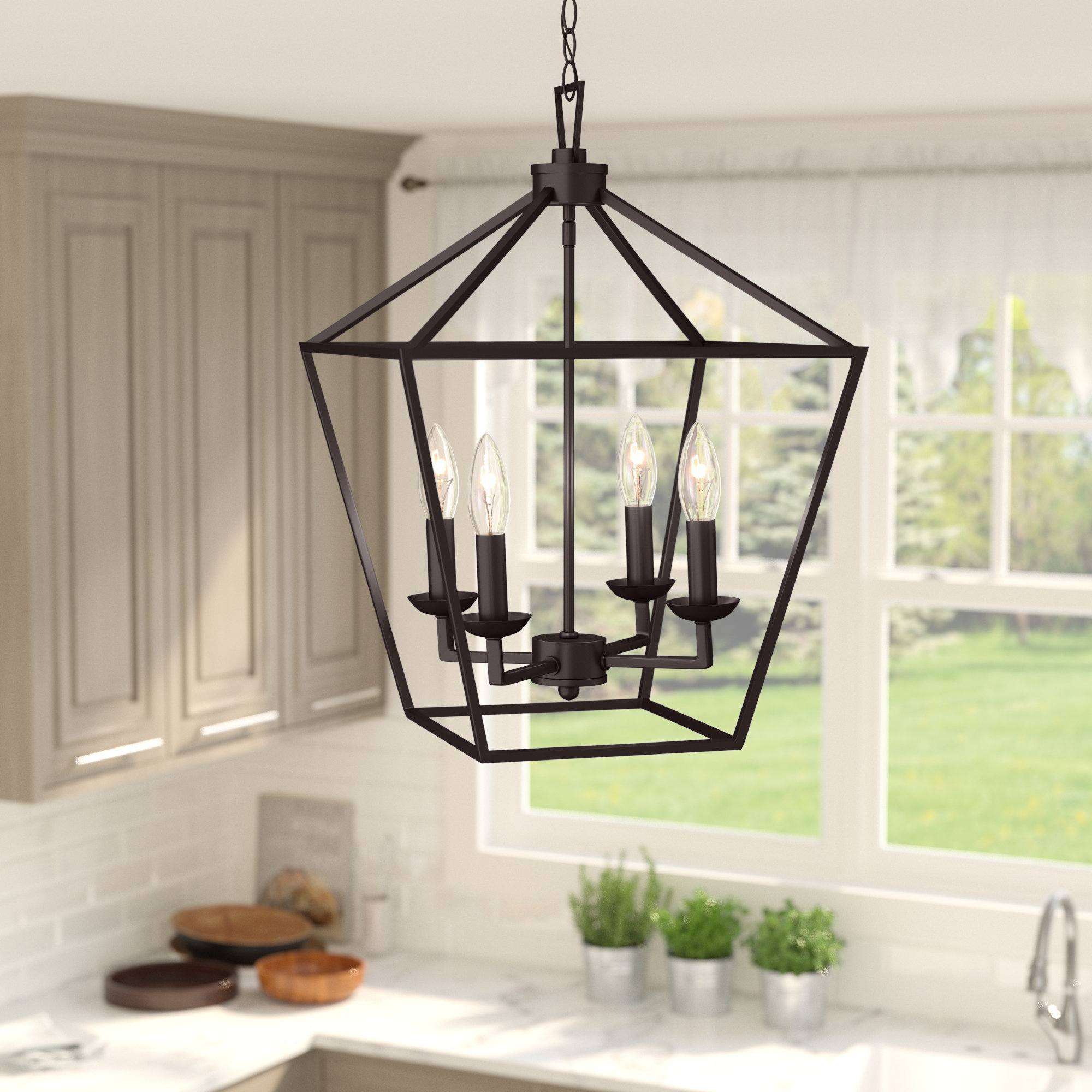 Finnick 4 Light Foyer Pendants Throughout Recent Carmen 4 Light Lantern Geometric Pendant (View 4 of 25)