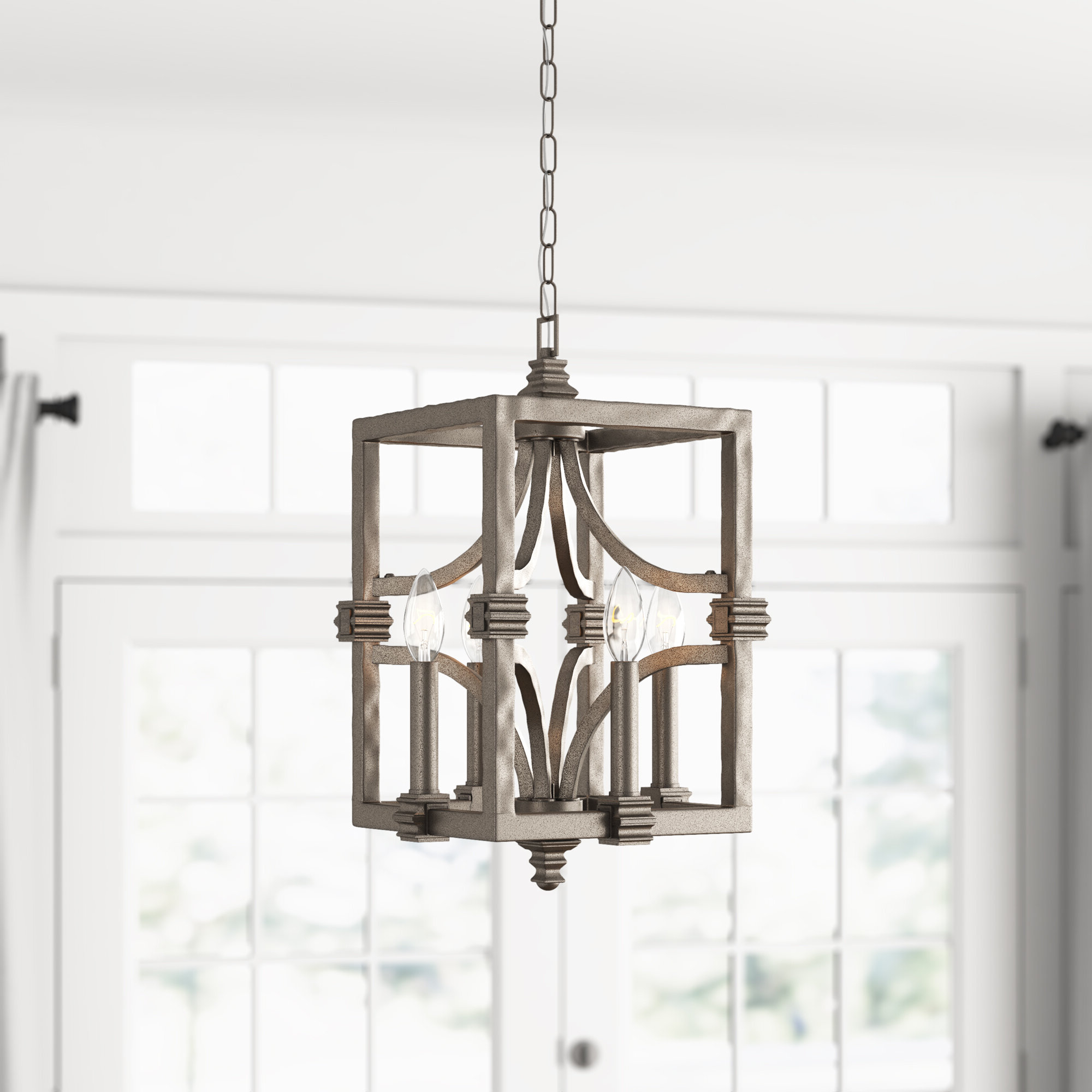 Freeburg 4 Light Lantern Square / Rectangle Pendant Intended For Latest Kierra 4 Light Unique / Statement Chandeliers (View 20 of 25)