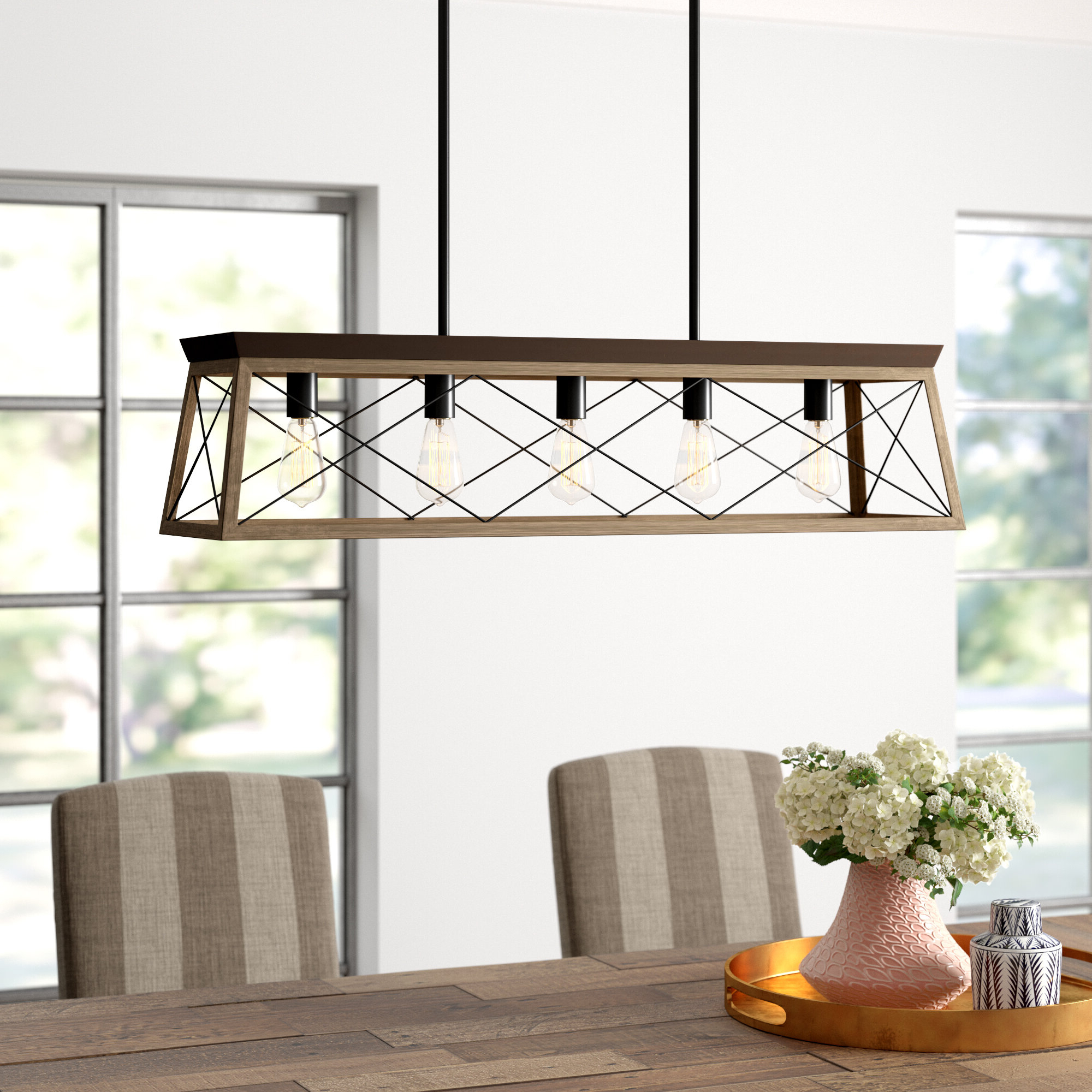 Freemont 5 Light Kitchen Island Linear Chandeliers For Well Known Delon 5 Light Kitchen Island Linear Pendant (View 2 of 25)