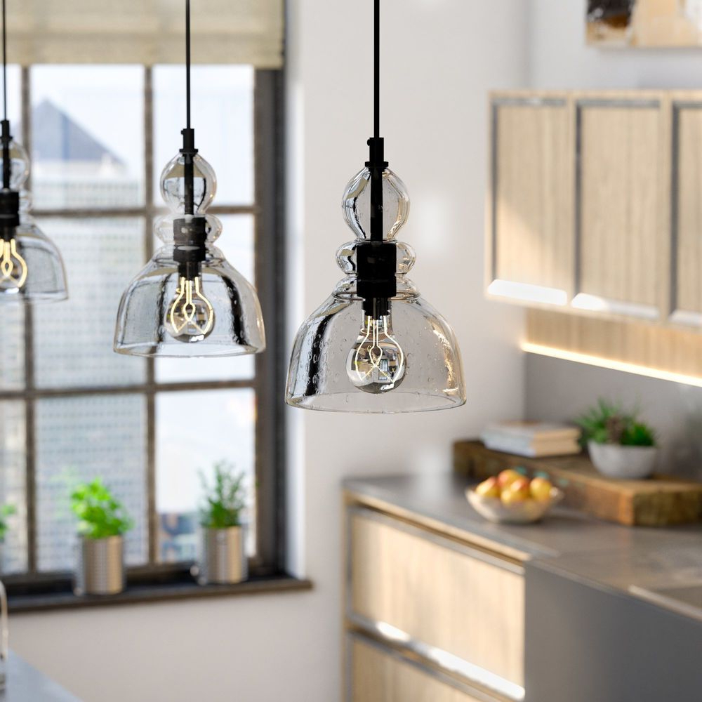 Fresno Dome 1 Light Bell Pendants Inside 2019 Kitchen Pendant Light Bell Glass Clear Retro Industrial (View 17 of 25)