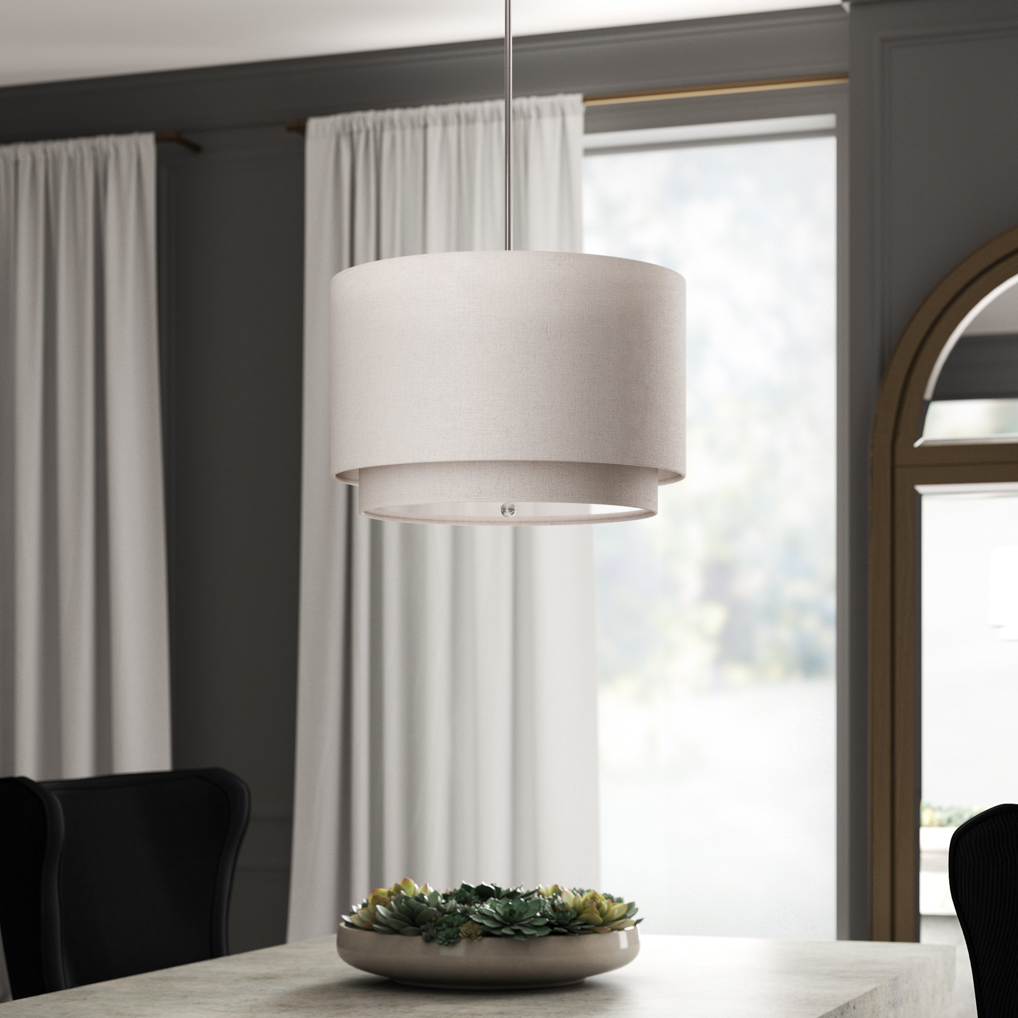 Friedland 3 Light Drum Tiered Pendant For Famous Radtke 3 Light Single Drum Pendants (View 6 of 25)