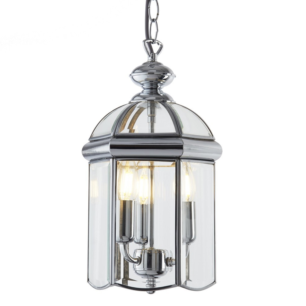 Gabriella 3 Light Lantern Chandeliers Regarding Favorite Lantern Chrome Bevelled Glass Domed 3 Light (View 10 of 25)
