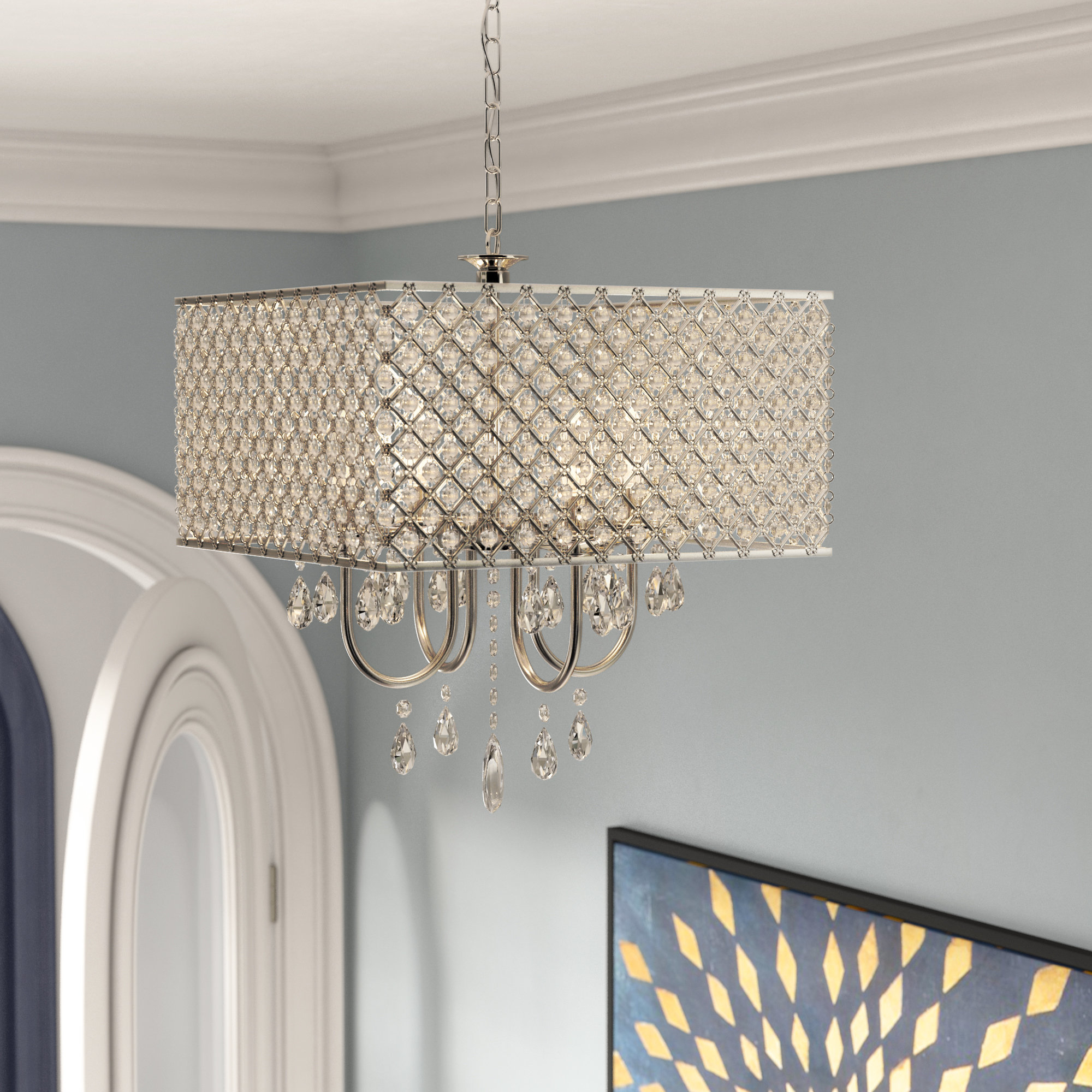 Garrin Square 4 Light Crystal Chandelier Regarding 2019 Aurore 4 Light Crystal Chandeliers (View 12 of 25)