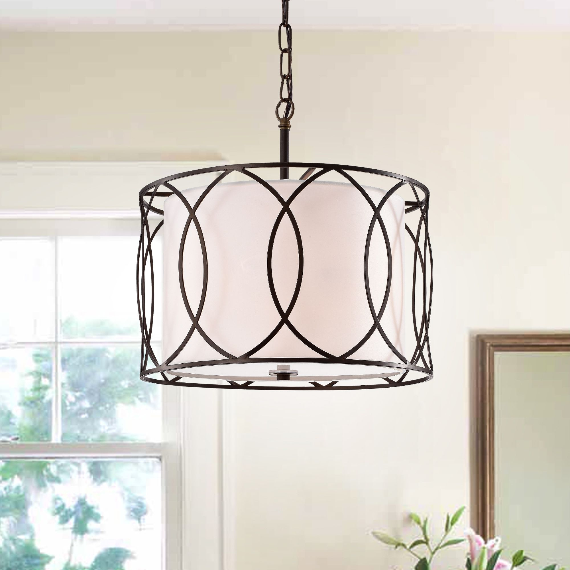 Gisnao Antique Bronze 3 Light Caged Drum 16 Inch Pendant In Within Trendy Tadwick 3 Light Single Drum Chandeliers (View 12 of 25)