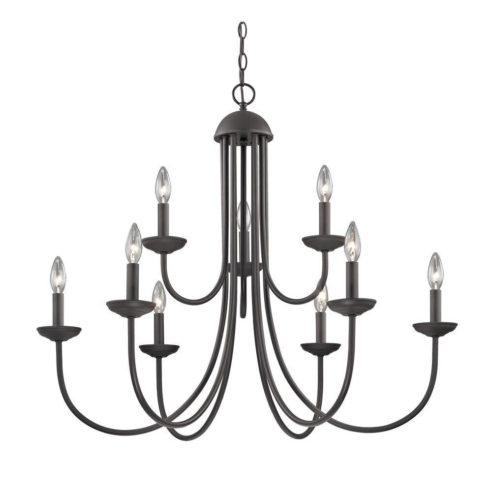 Giverny 9 Light Candle Style Chandeliers In Popular Titan Lighting Williamsport 9 Light Oil Rubbed Bronze (View 10 of 25)