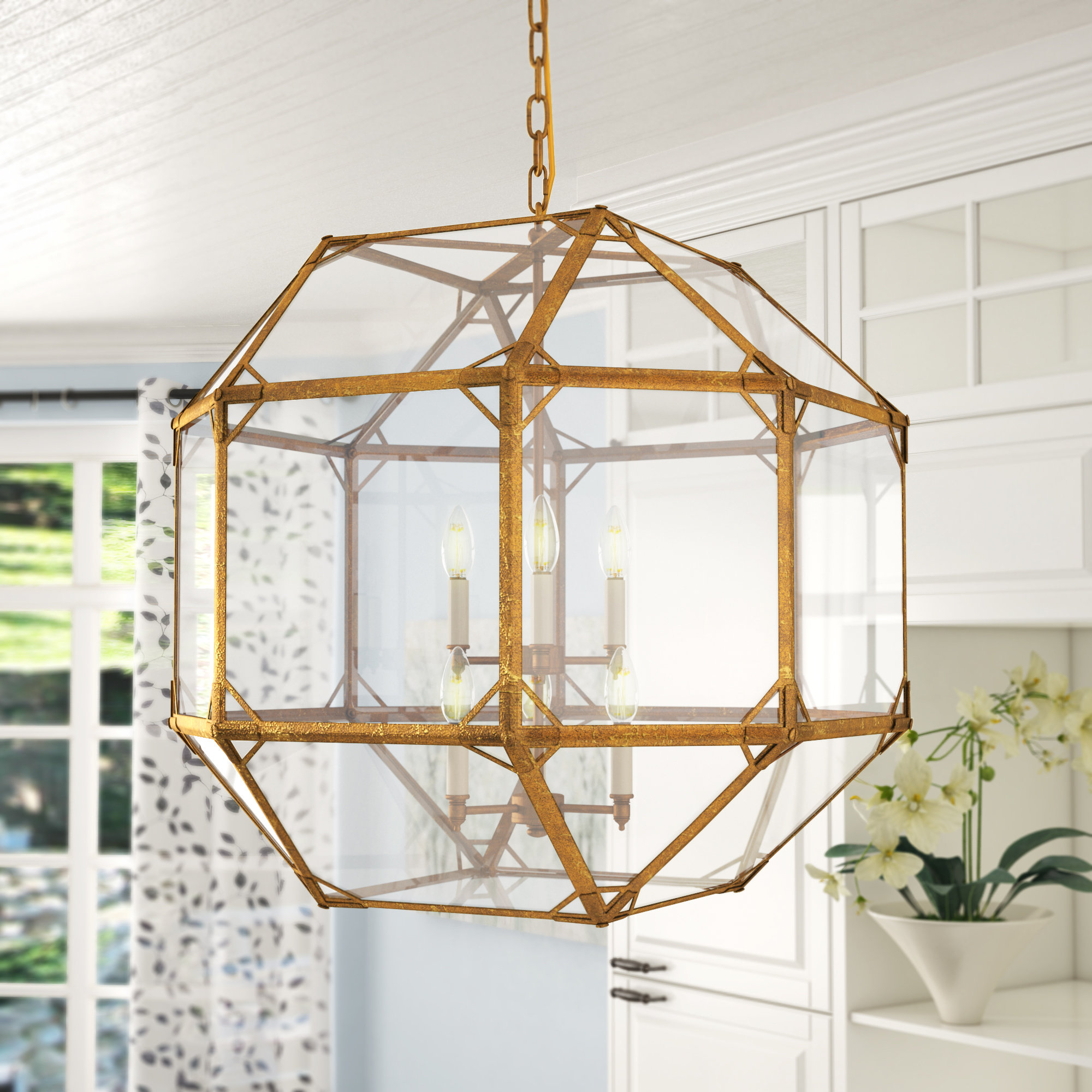 Gold Geometric Light Fixture (View 18 of 25)