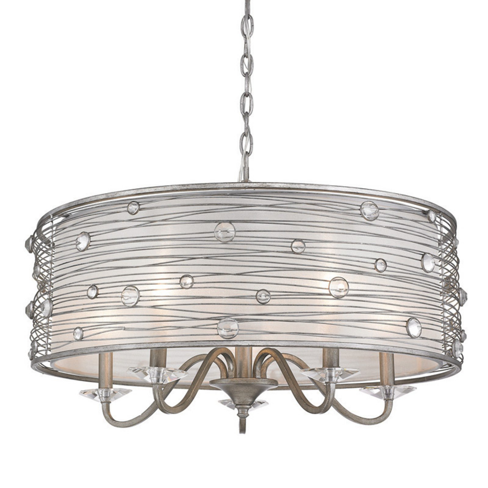Golden Lighting Joia Five Light Chandelier – Peruvian Silver Inside Preferred Hermione 1 Light Single Drum Pendants (View 15 of 25)
