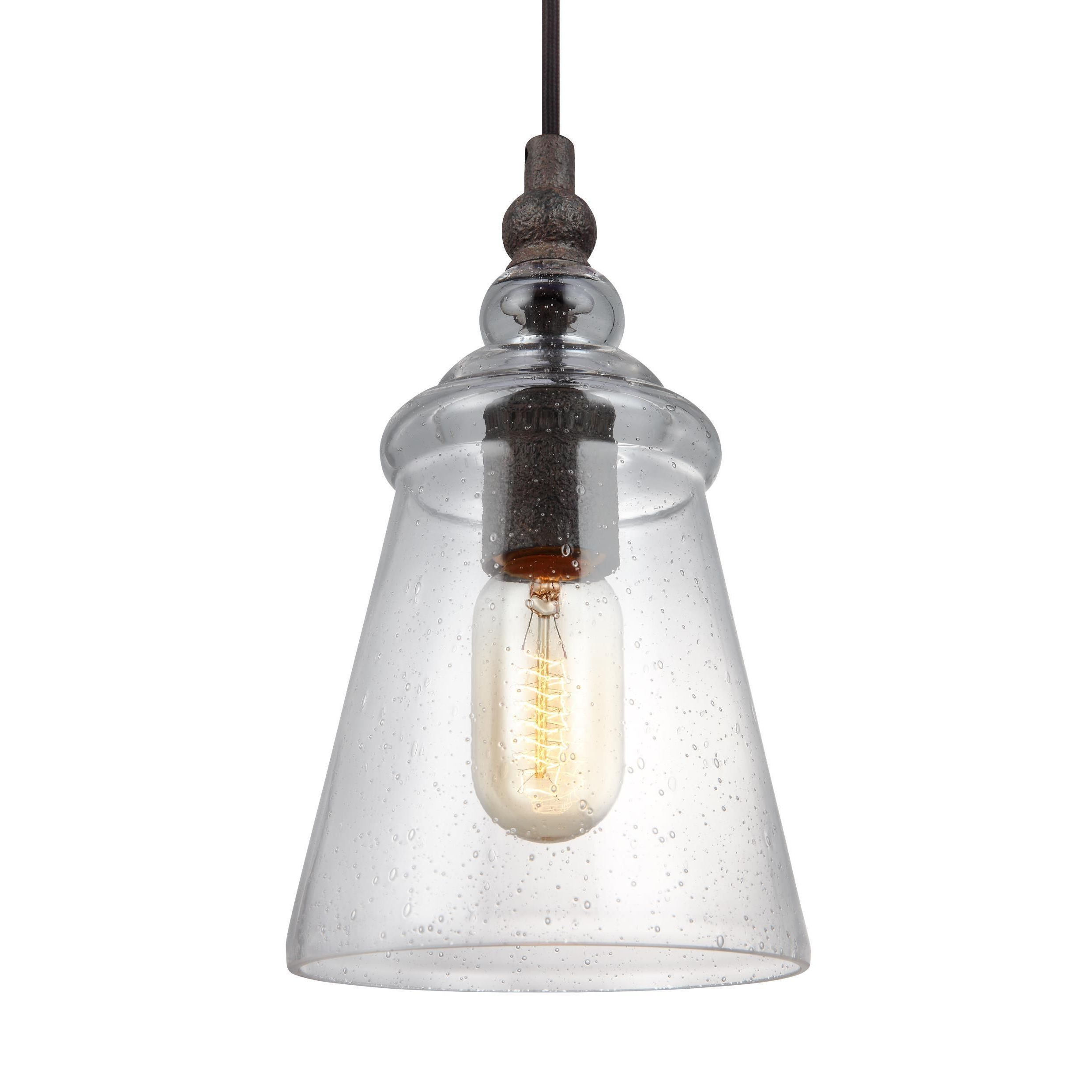 Goldie 1 Light Single Bell Pendants Within Preferred Feiss Loras 1 Light Dark Weathered Iron Pendant In  (View 14 of 25)