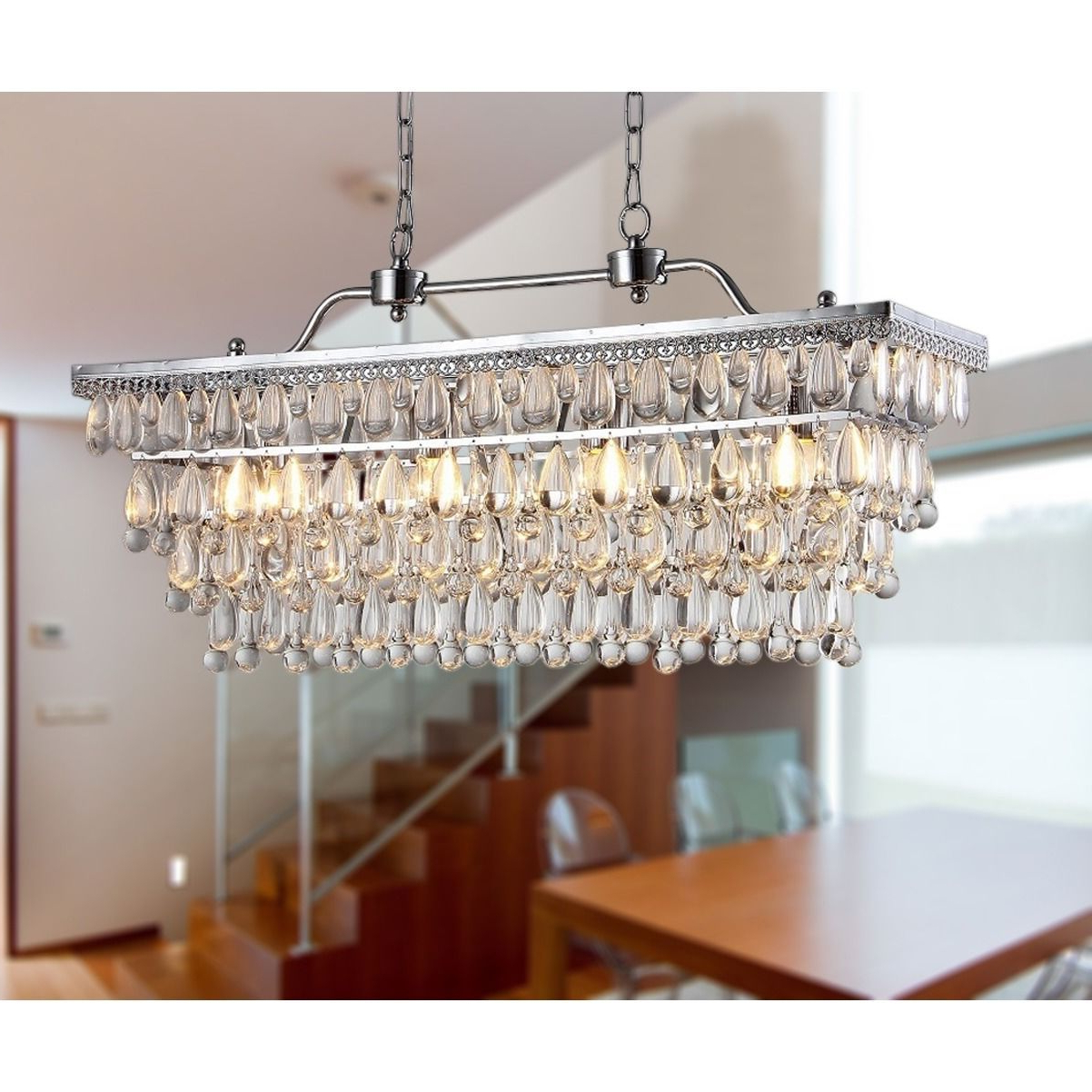 Gracelyn 8 Light Kitchen Island Pendants With Regard To 2020 Warehouse Of Tiffany Willow 4 Light Crystal 30 Inch Chrome (View 22 of 25)