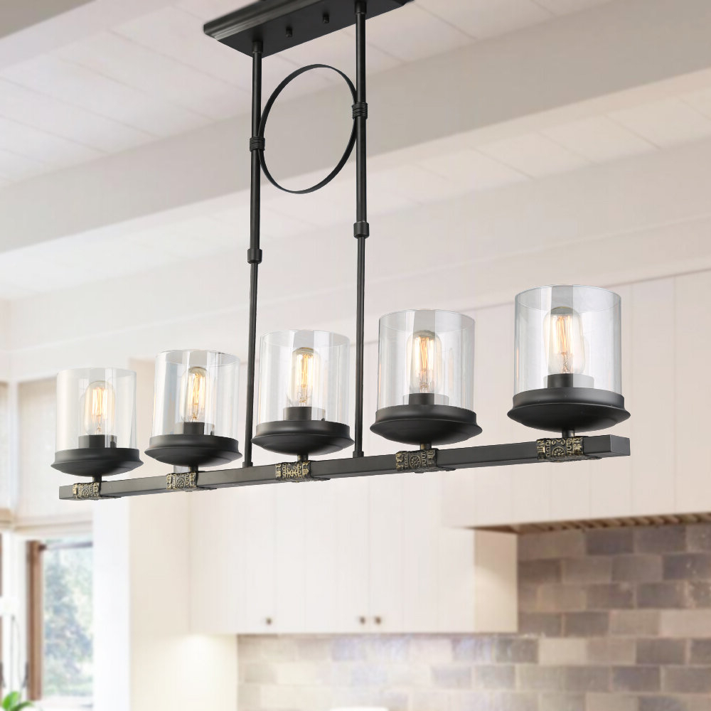 Gracie Oaks Dennis Retro Kitchen Linear Island Pendant Lighting, Clear  Glass Shade, Black Finish With Most Current Cinchring 4 Light Kitchen Island Linear Pendants (View 13 of 25)