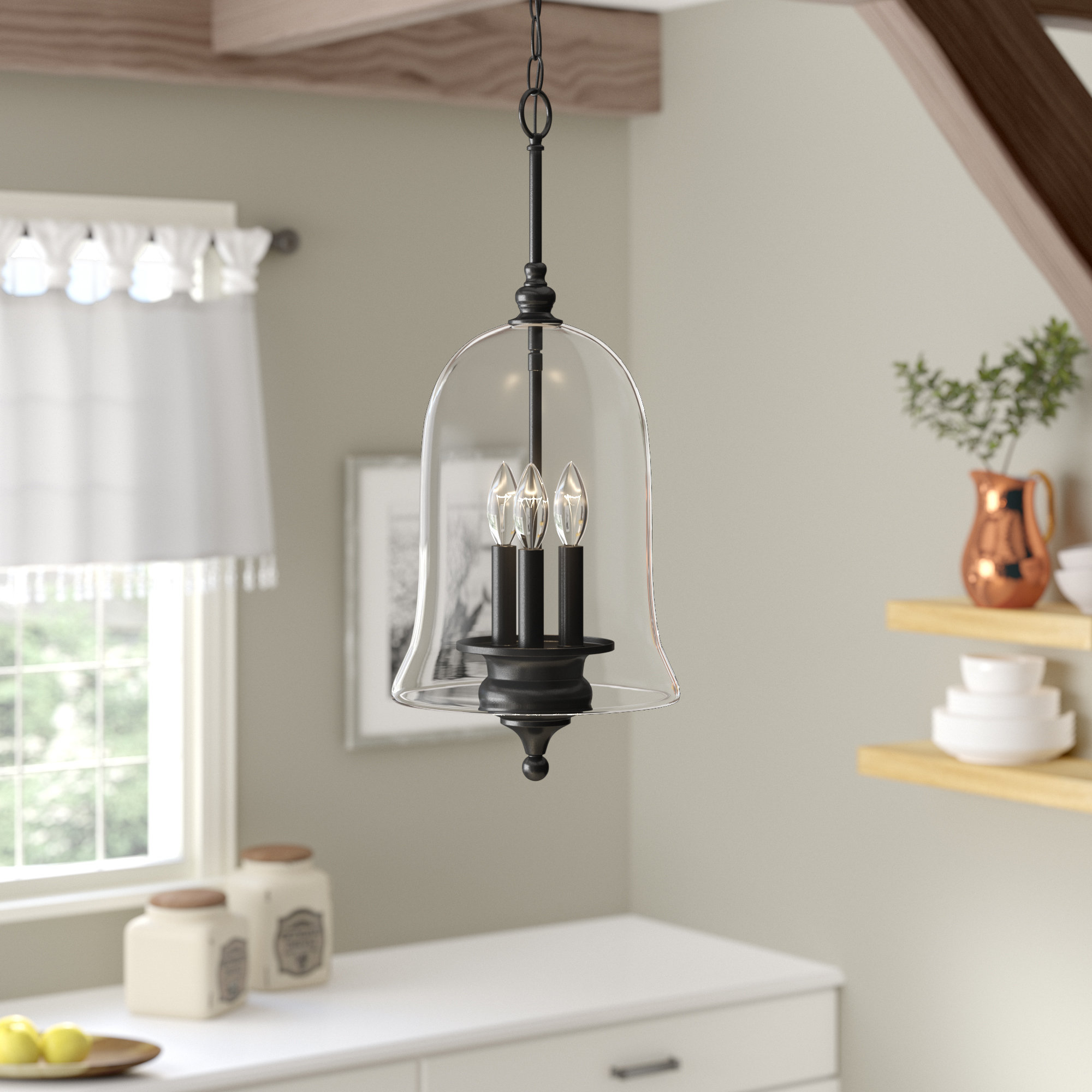 Gracie Oaks Youngberg 3 Light Single Bell Pendant & Reviews Regarding Most Up To Date Dirksen 3 Light Single Cylinder Chandeliers (View 20 of 25)