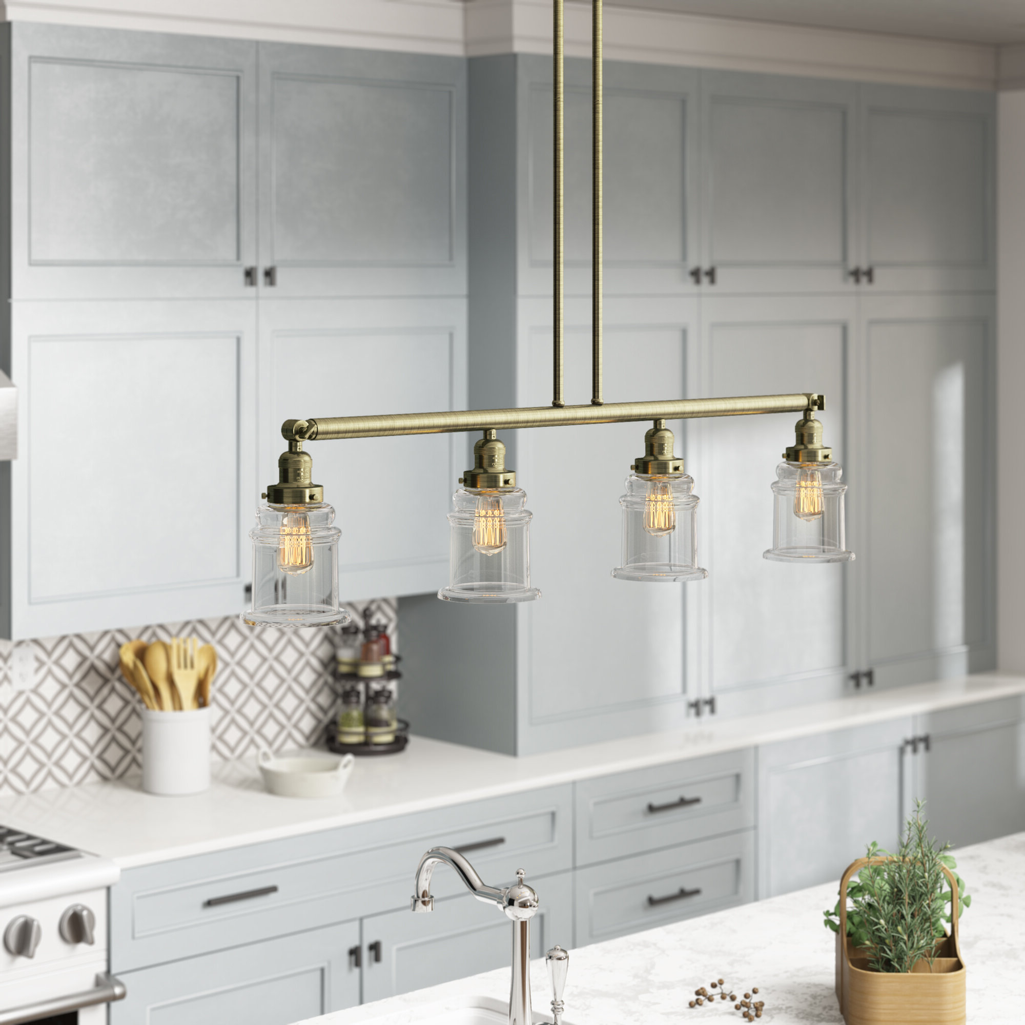 Greeley 4 Light Kitchen Island Pendant With Popular Jefferson 4 Light Kitchen Island Linear Pendants (View 9 of 25)