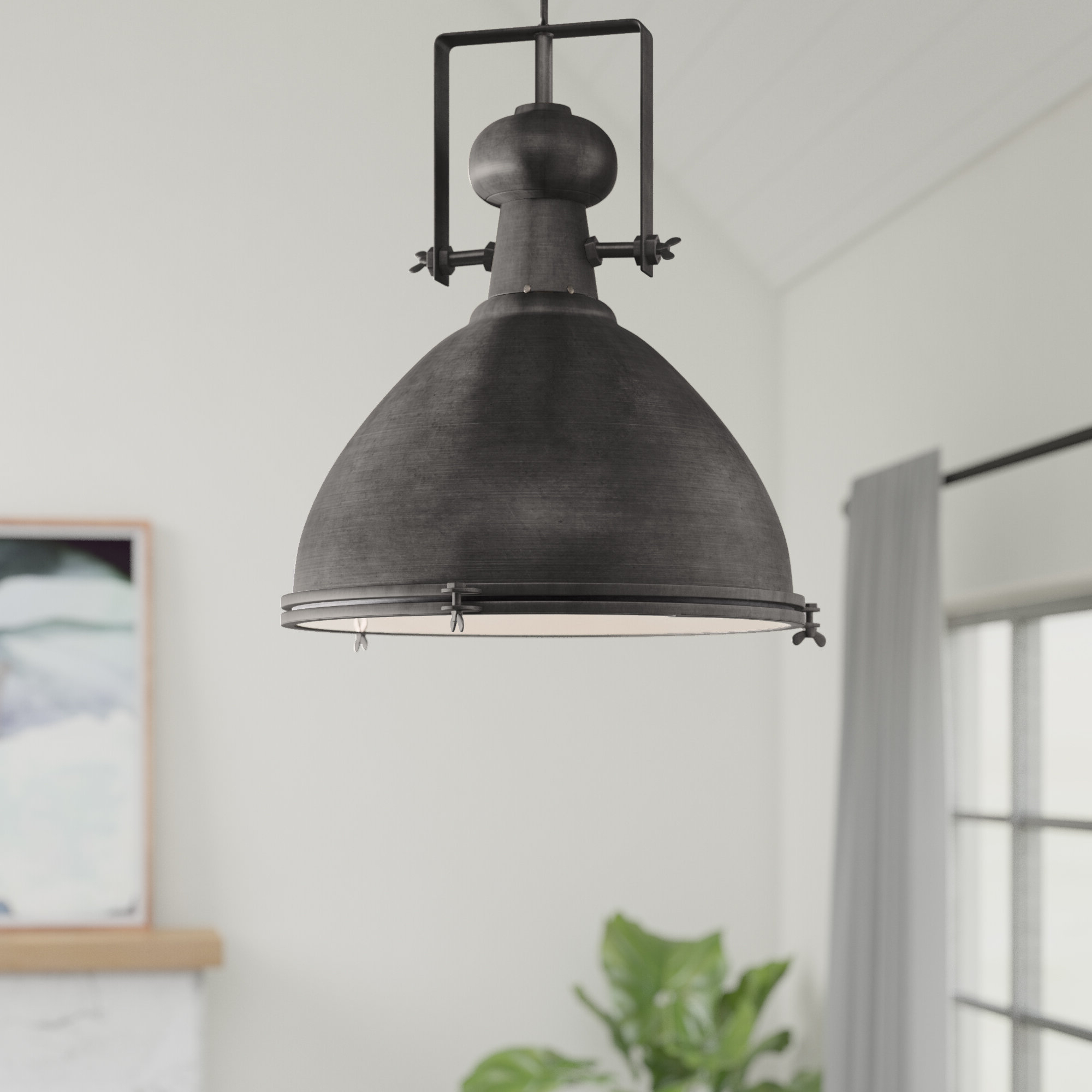 Grullon Scroll 1 Light Single Bell Pendants In 2019 Lavern 1 Light Single Dome Pendant (View 4 of 25)