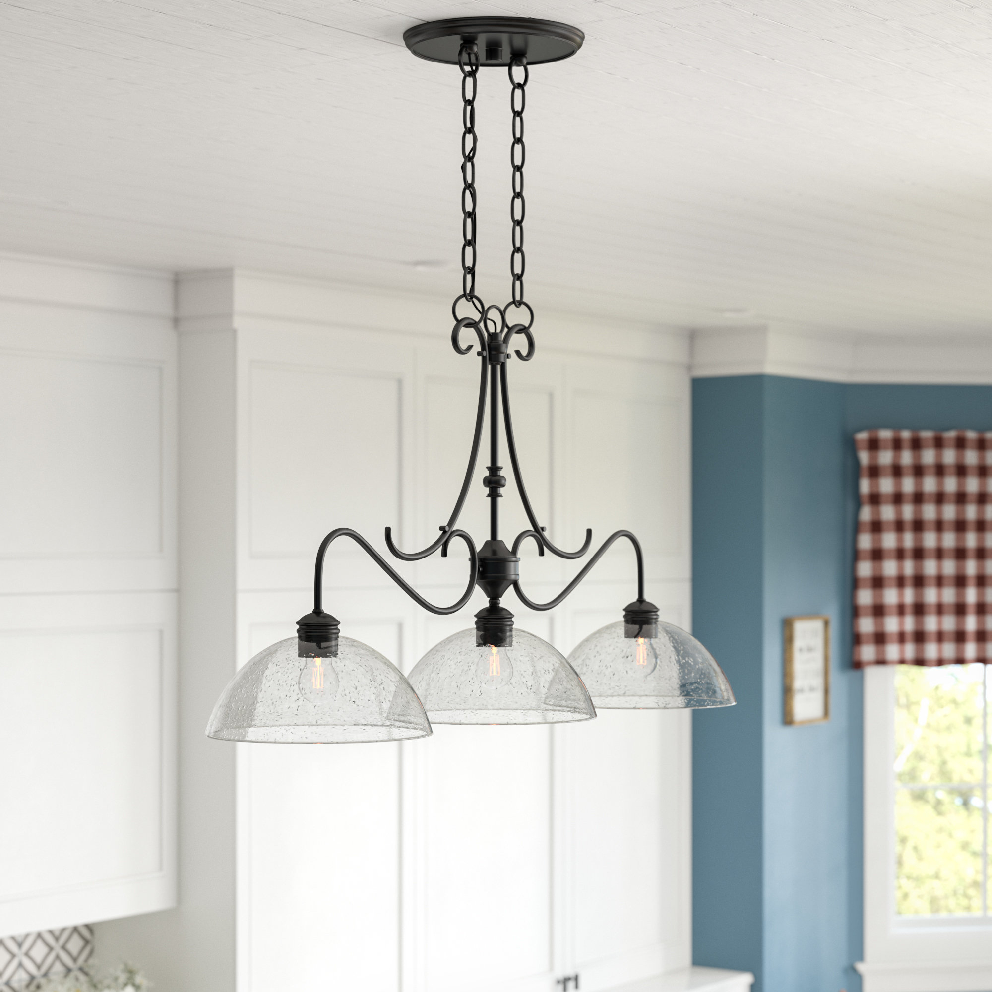Grullon Scroll 1 Light Single Bell Pendants In Preferred Sheila 3 Light Kitchen Island Dome Pendant (View 21 of 25)