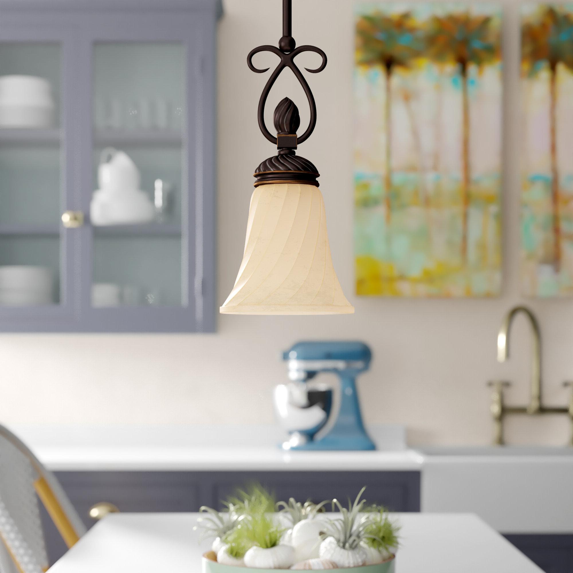 Grullon Scroll 1 Light Single Bell Pendants Intended For Popular Hoopeston 1 Light Single Bell Pendant (View 15 of 25)