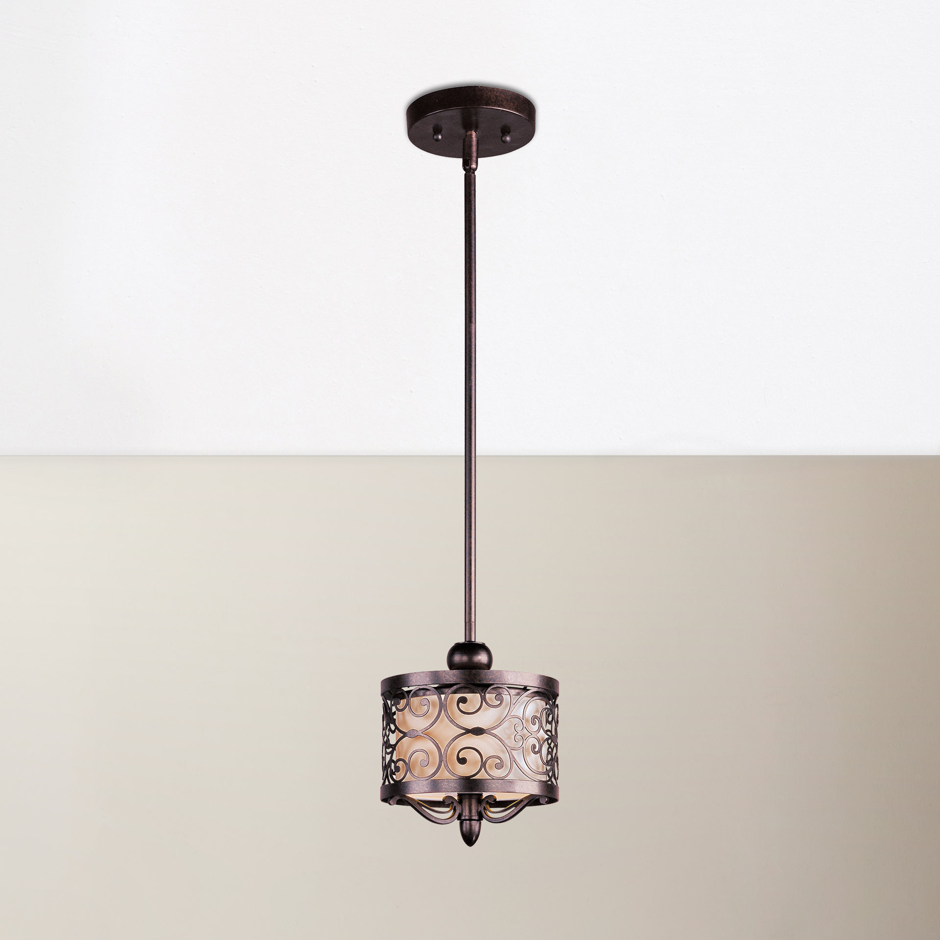 Grullon Scroll 1 Light Single Bell Pendants Regarding Trendy Bellamira 1 Light Drum Pendant (View 25 of 25)