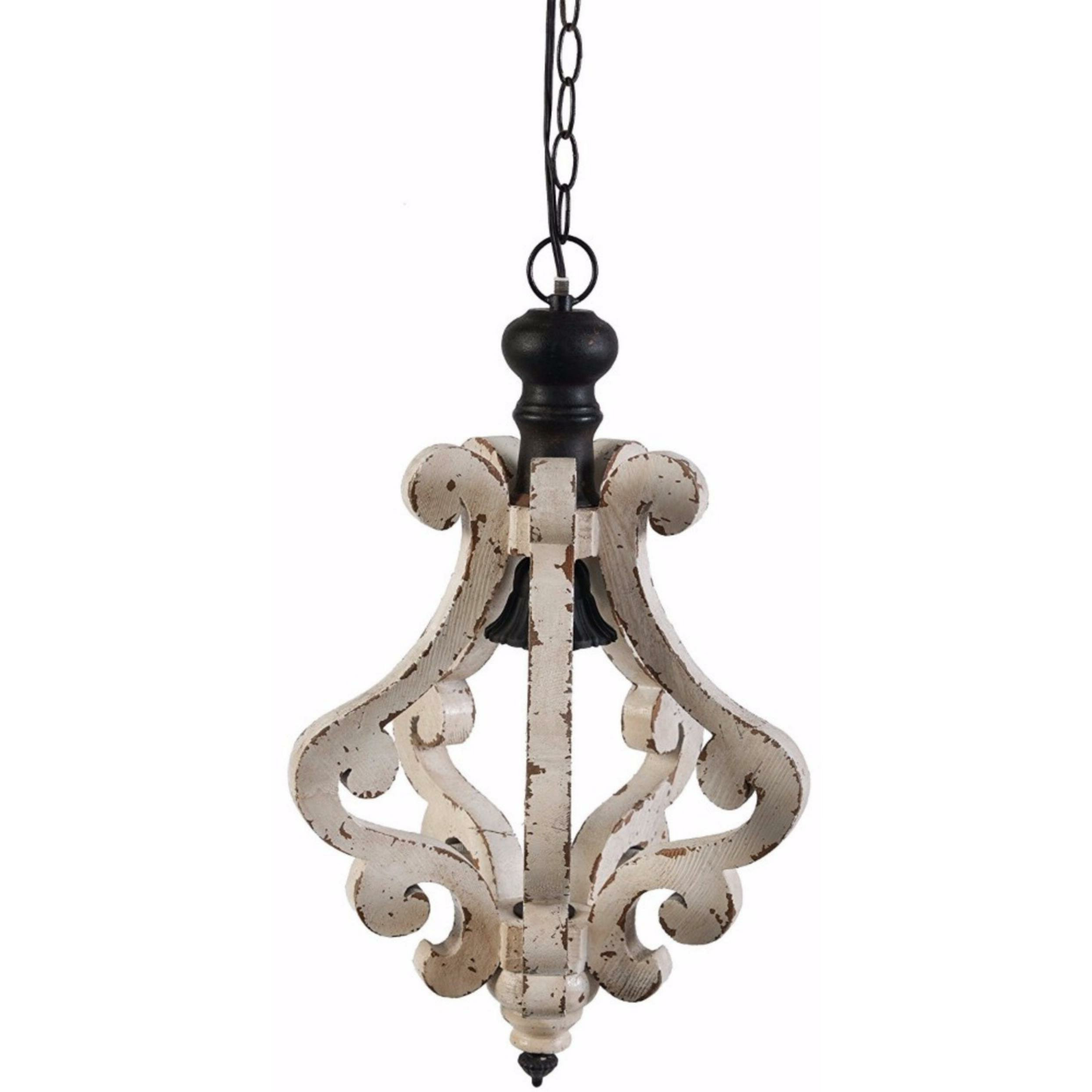 Grullon Scroll 1 Light Single Bell Pendants Throughout Best And Newest Latonia Wooden 1 Light Single Geometric Pendant (View 7 of 25)