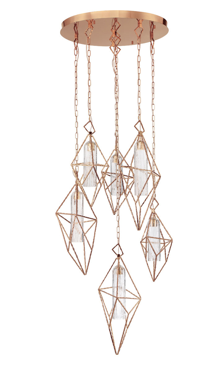 Guajardo 6 Light Cluster Geometric Pendant Pertaining To 2019 Hydetown 1 Light Single Geometric Pendants (View 7 of 25)