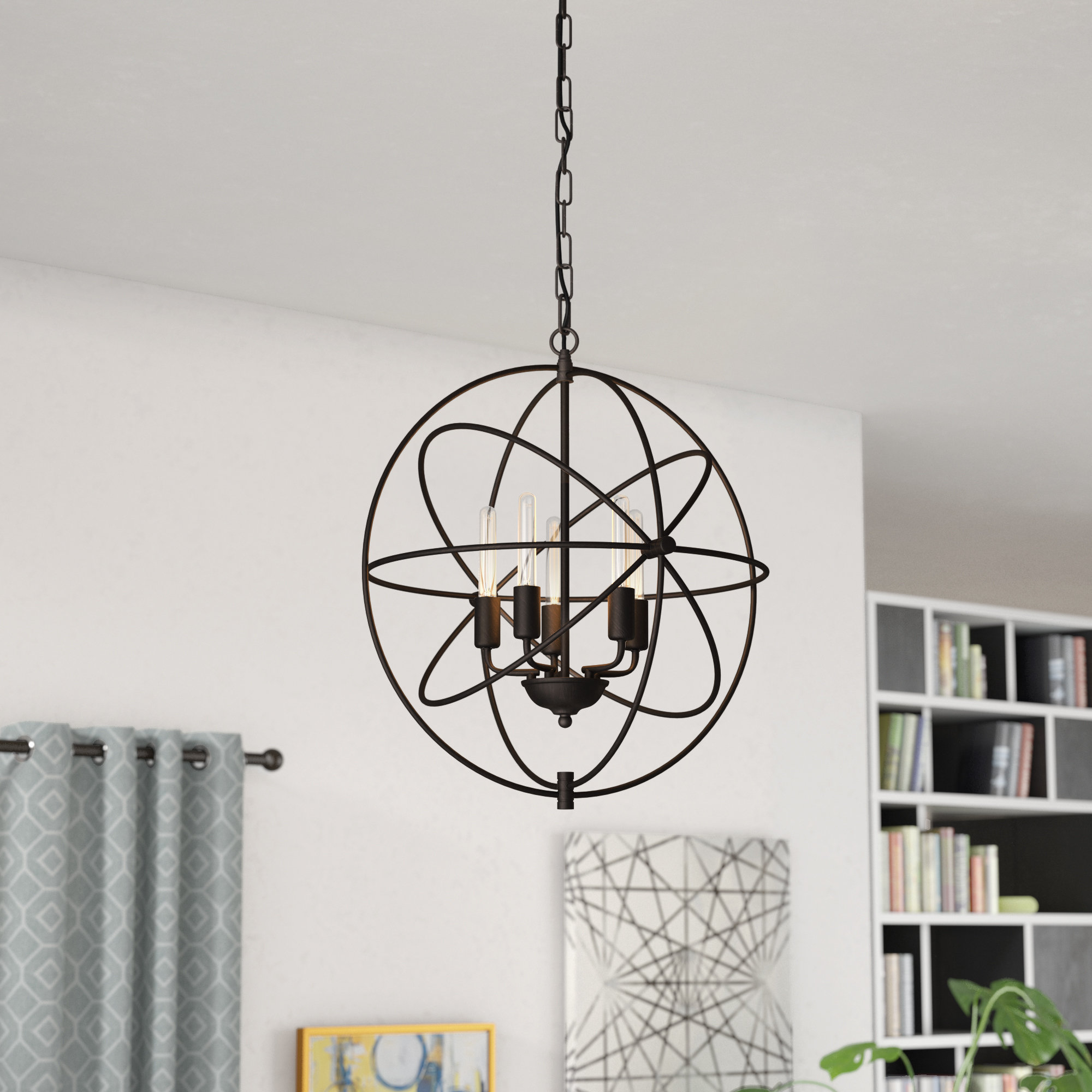 Hamby 5 Light Globe Chandelier For Famous Verlene Foyer 5 Light Globe Chandeliers (Gallery 11 of 25)