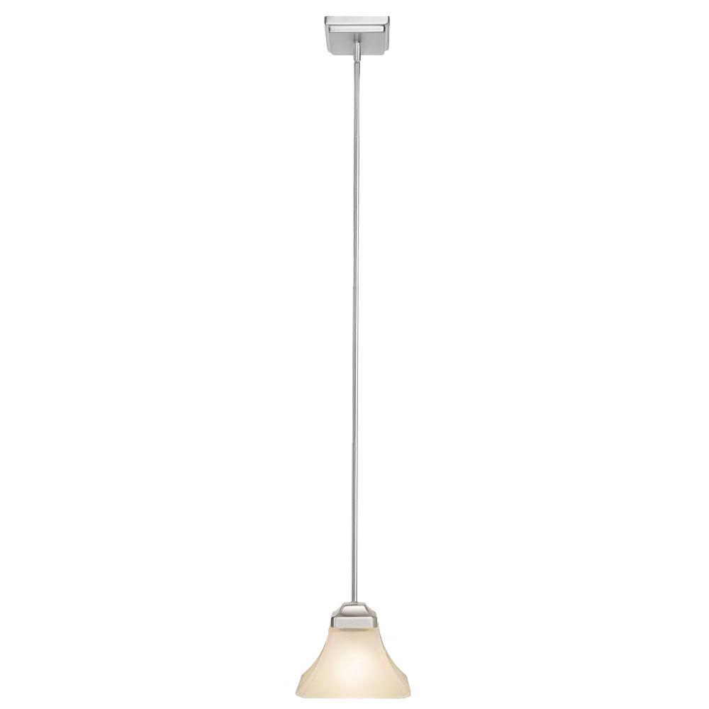 Hamilton 1 Light Single Dome Pendants With Regard To Well Known Hampton Bay Nove 1 Light Brushed Nickel Mini Pendant With White Glass Shade (Gallery 15 of 25)