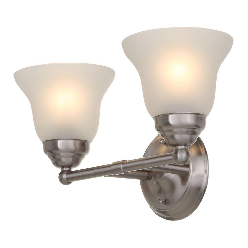 Hampton Bay 2 Light Brushed Nickel Vanity Light With Frosted Glass Shades Regarding Preferred Hurst 1 Light Single Cylinder Pendants (View 25 of 25)