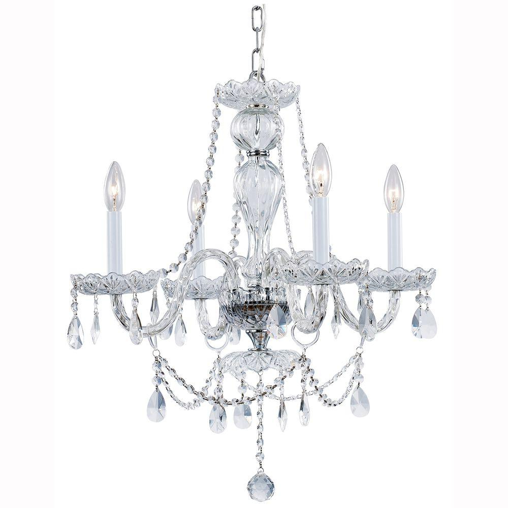 Hampton Bay Lake Point 4-Light Chrome And Clear Crystal Chandelier in Best and Newest Von 4-Light Crystal Chandeliers